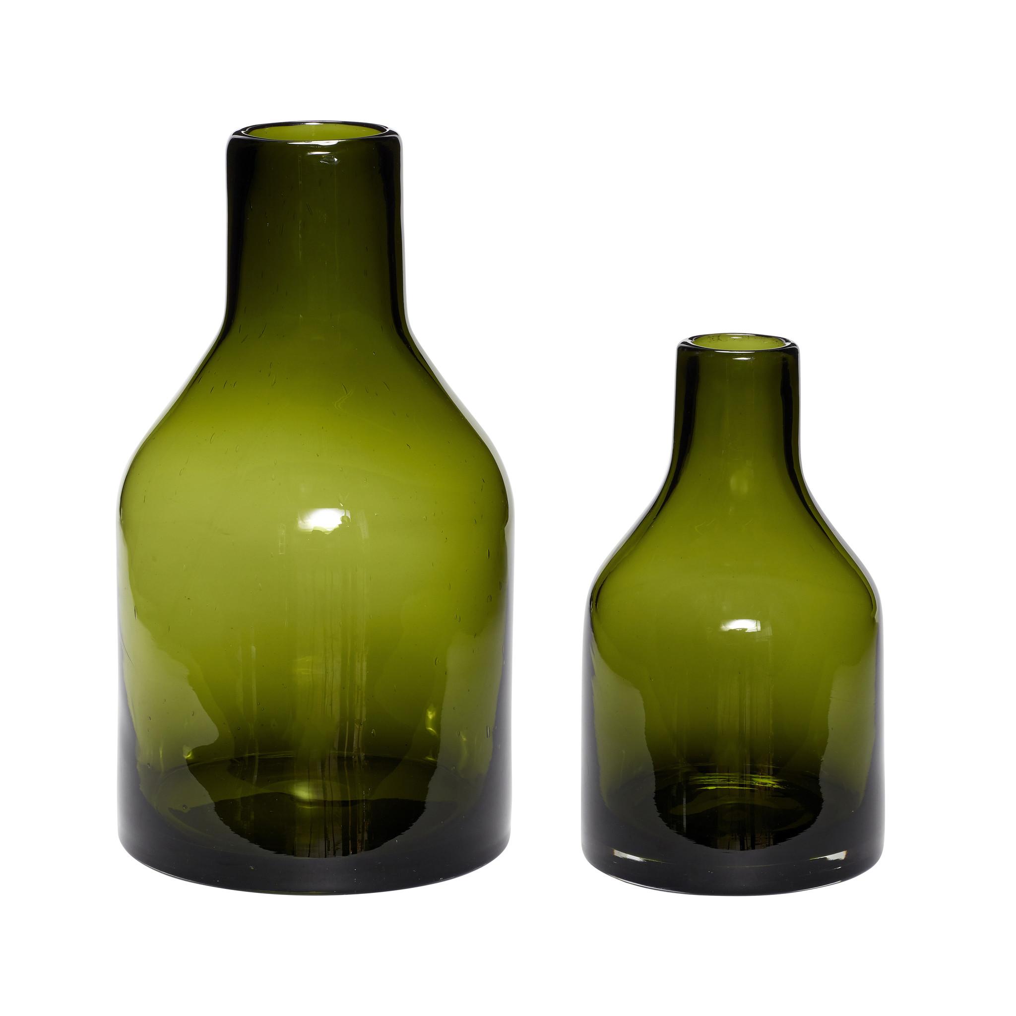 Hubsch Vaas, glas, groen, set van 2-280606-5712772061299