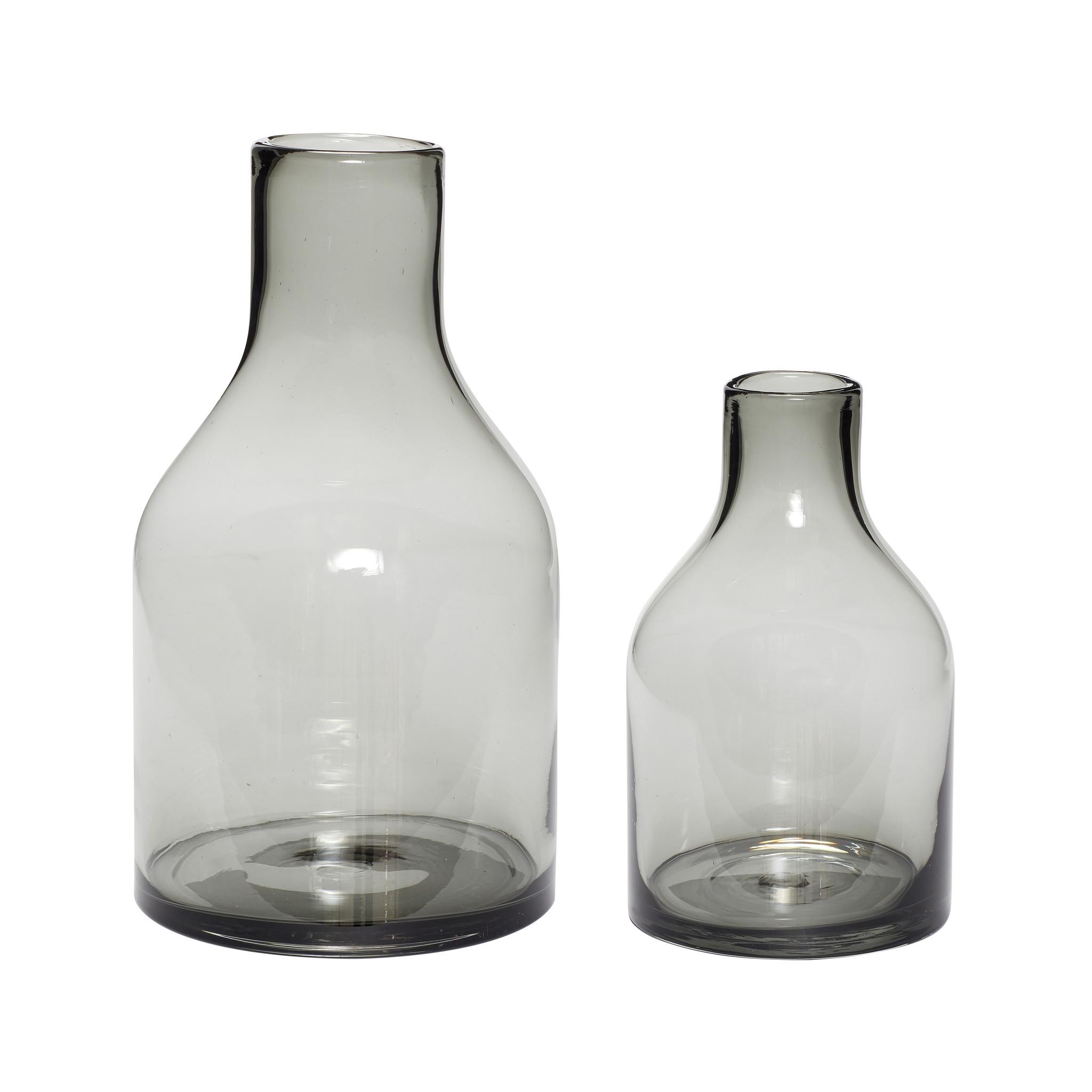 Hubsch Vaas, glas, gerookt, set van 2