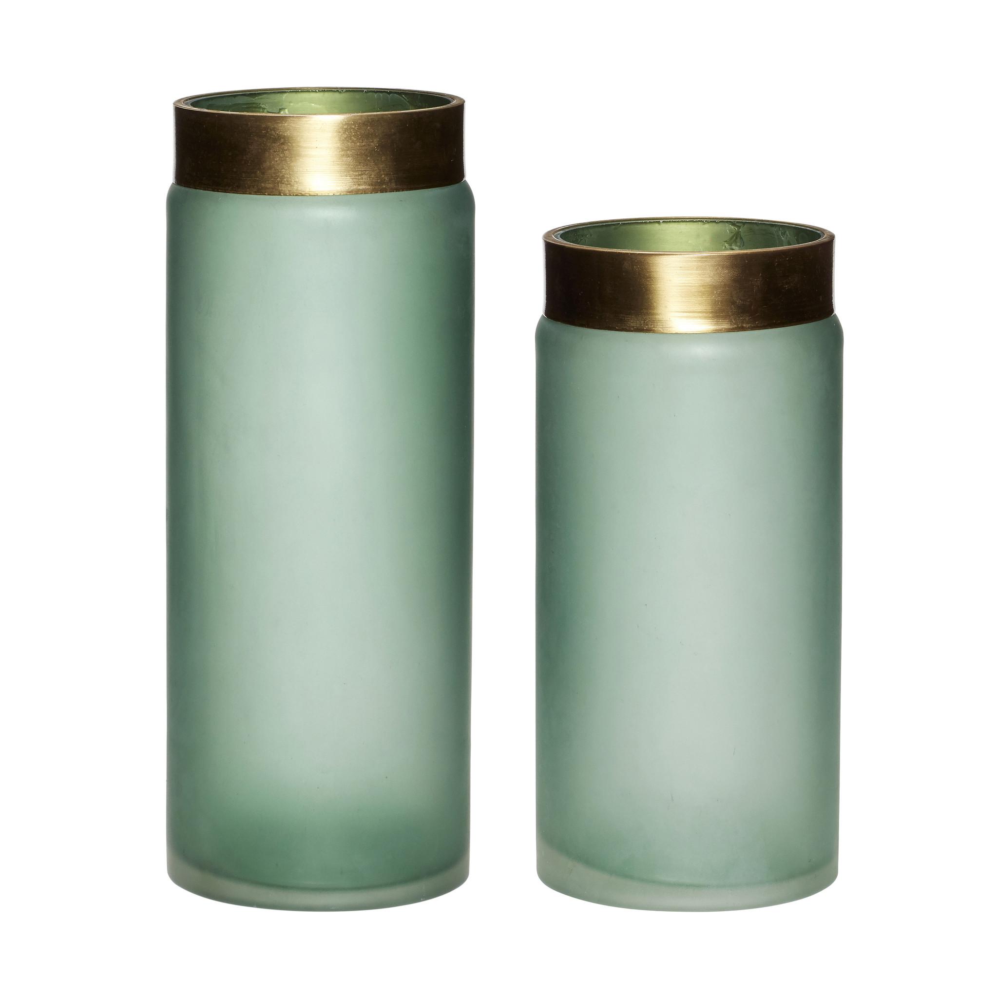 Hubsch Vaas, glas, groen / goud, set van 2-280610-5712772064658