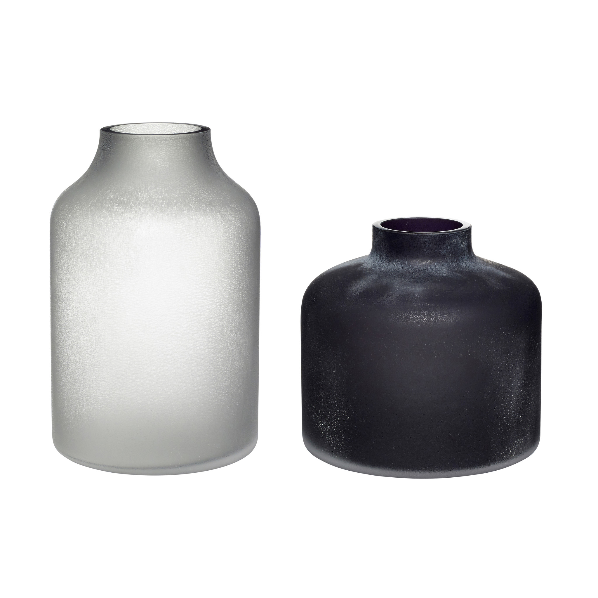 Hubsch Vaas, matglas, zwart / wit, set van 2-280802-5712772064672