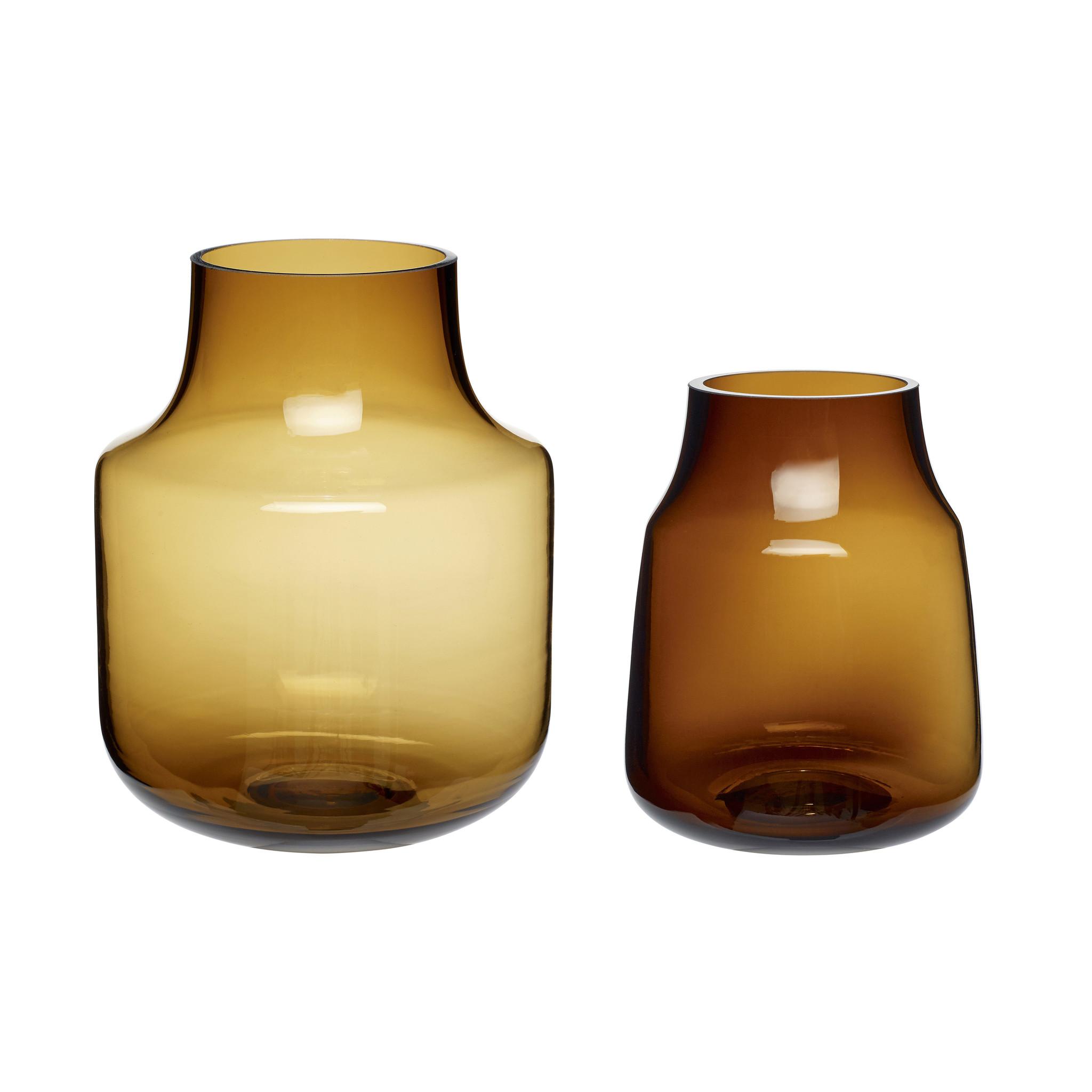 Hubsch Vaas, glas, bruin, set van 2-280803-5712772064689