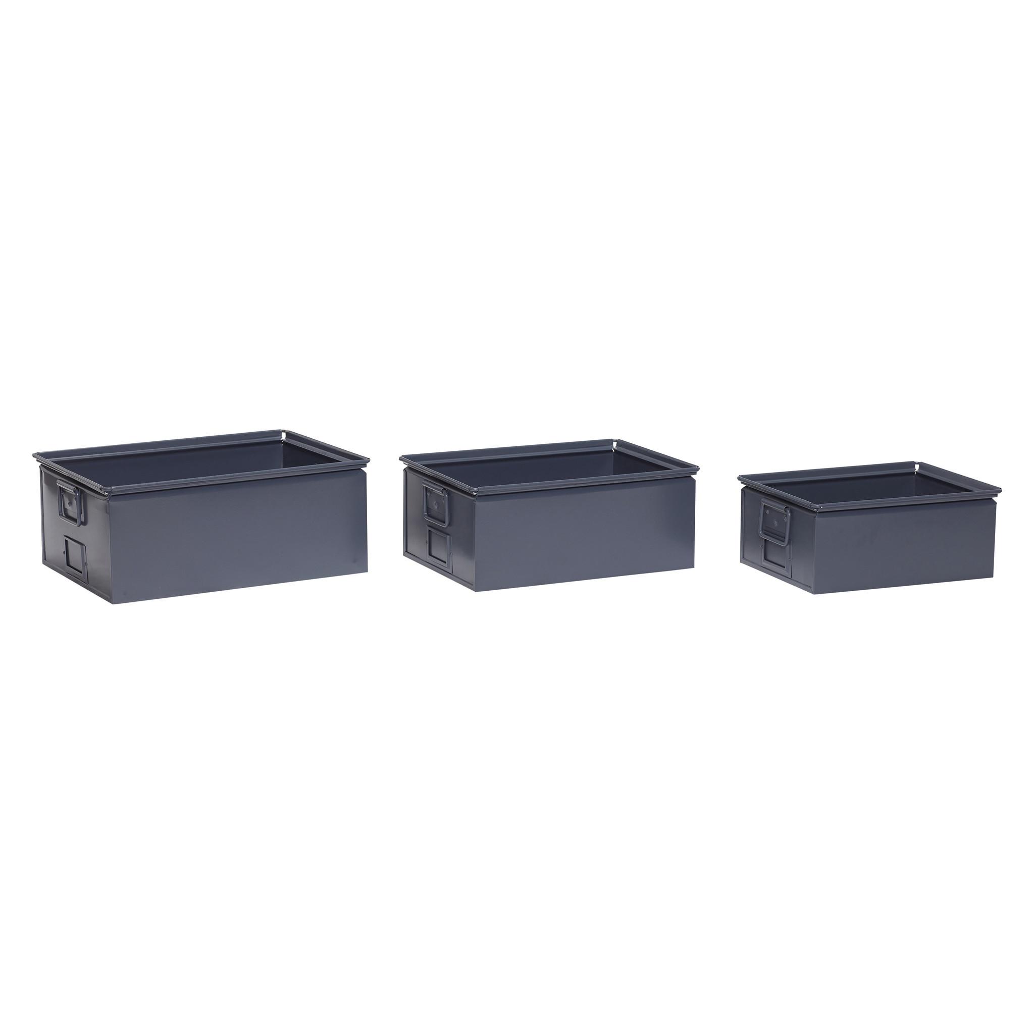 Hubsch Opbergbox met handvat, metaal, grijs, set van 3