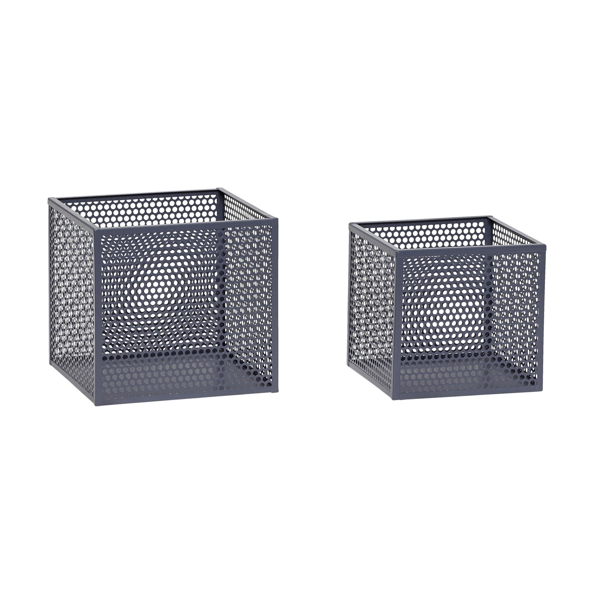 Hubsch Opbergbox, metaal, grijs, set van 2