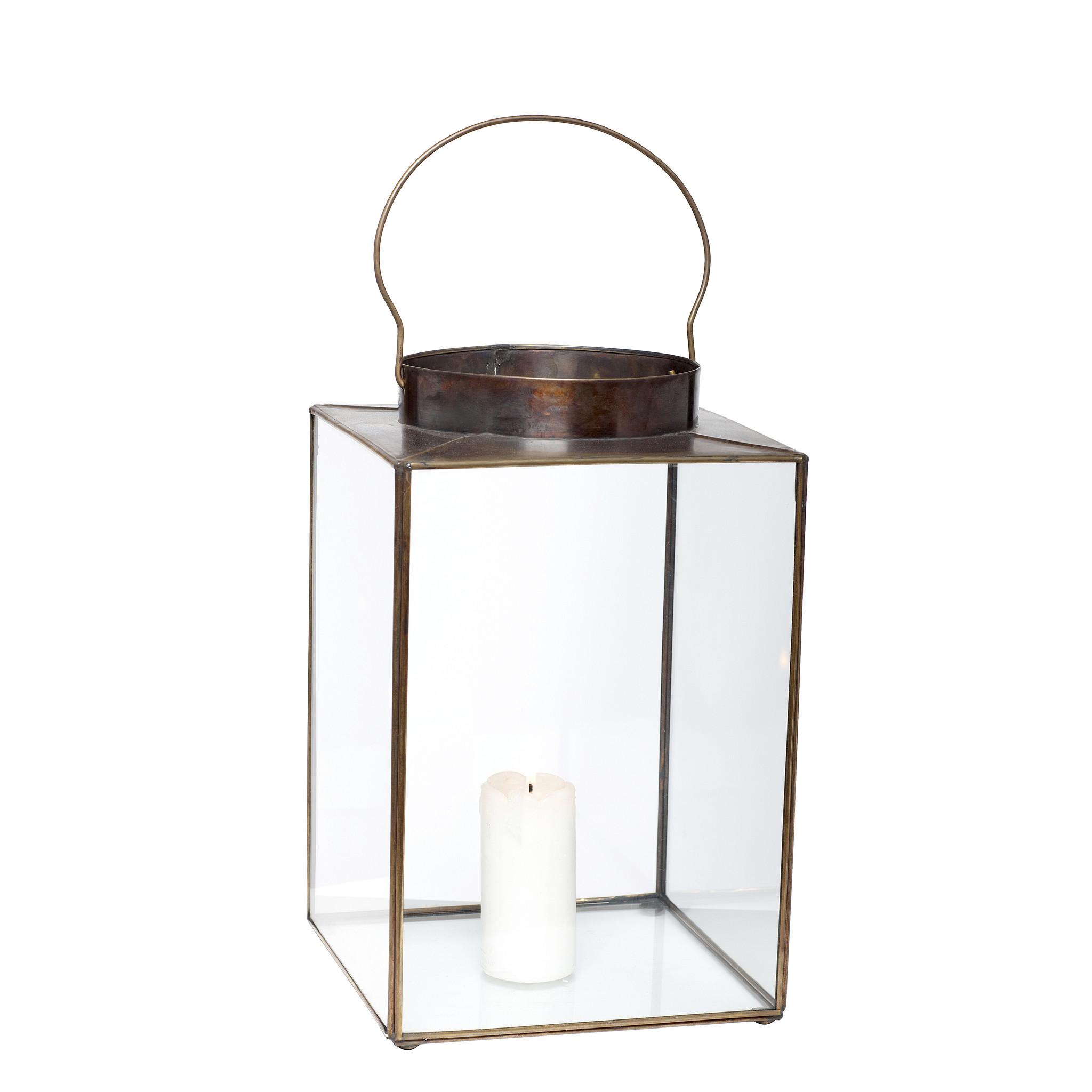 Hubsch Lantaarn met handgrepen, vierkant, glaset van metaal