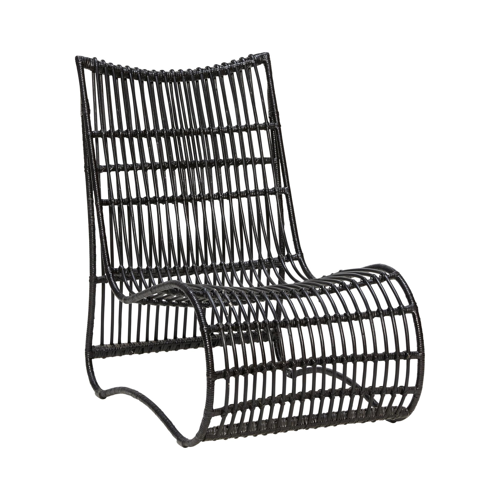 Hubsch Lounge stoel, rotan, zwart