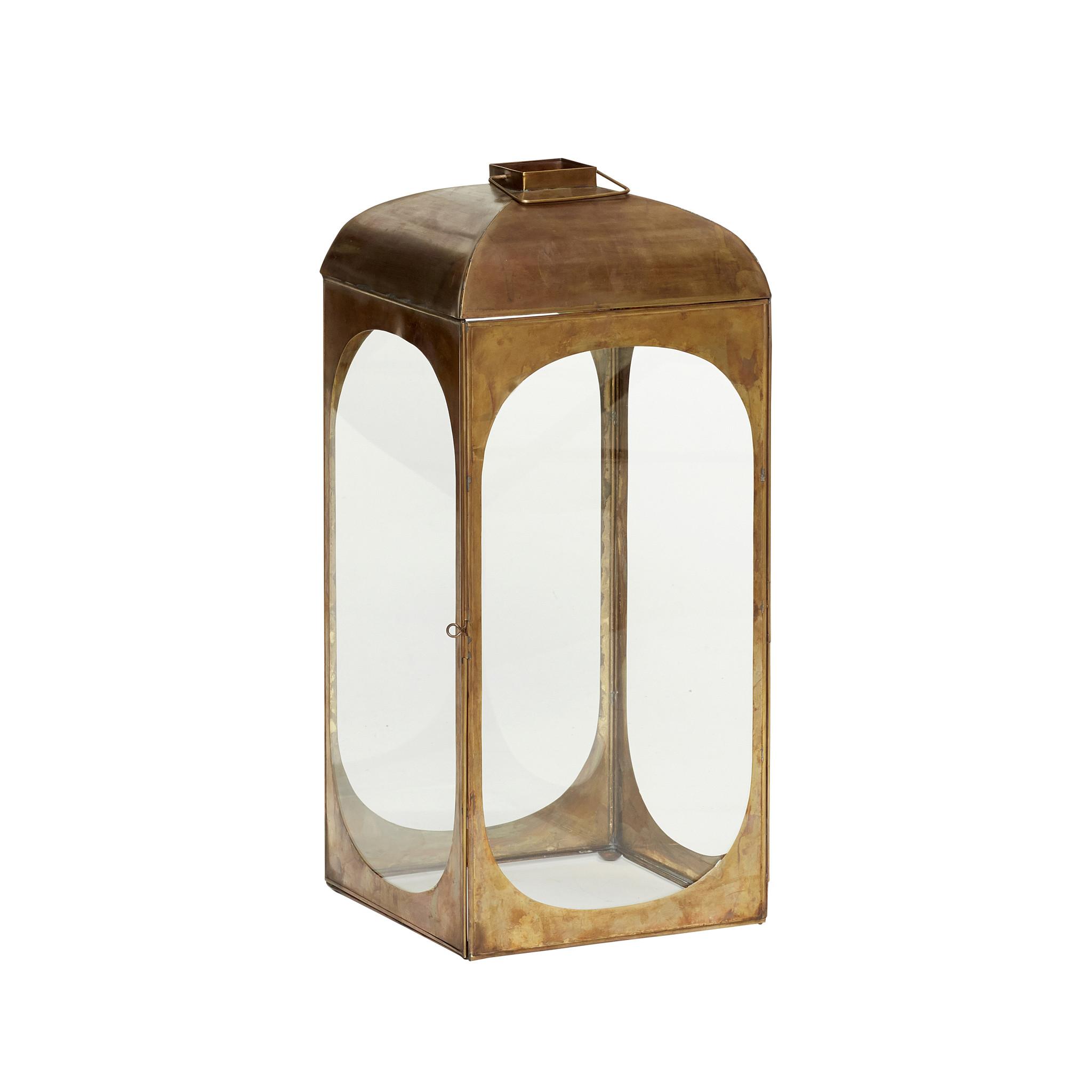 Hubsch Lantaarn met handgrepen, vierkant, messing / glas, klein