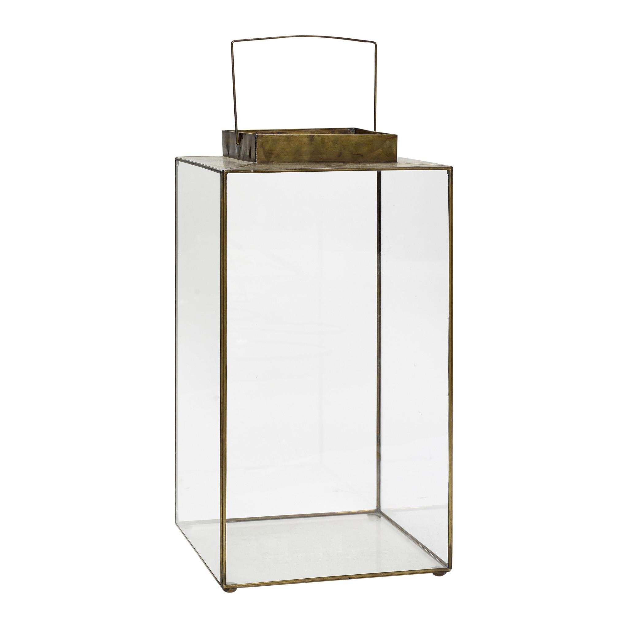 Hubsch Lantaarn met handgrepen, vierkant, messing / glas-310602-5712772060797