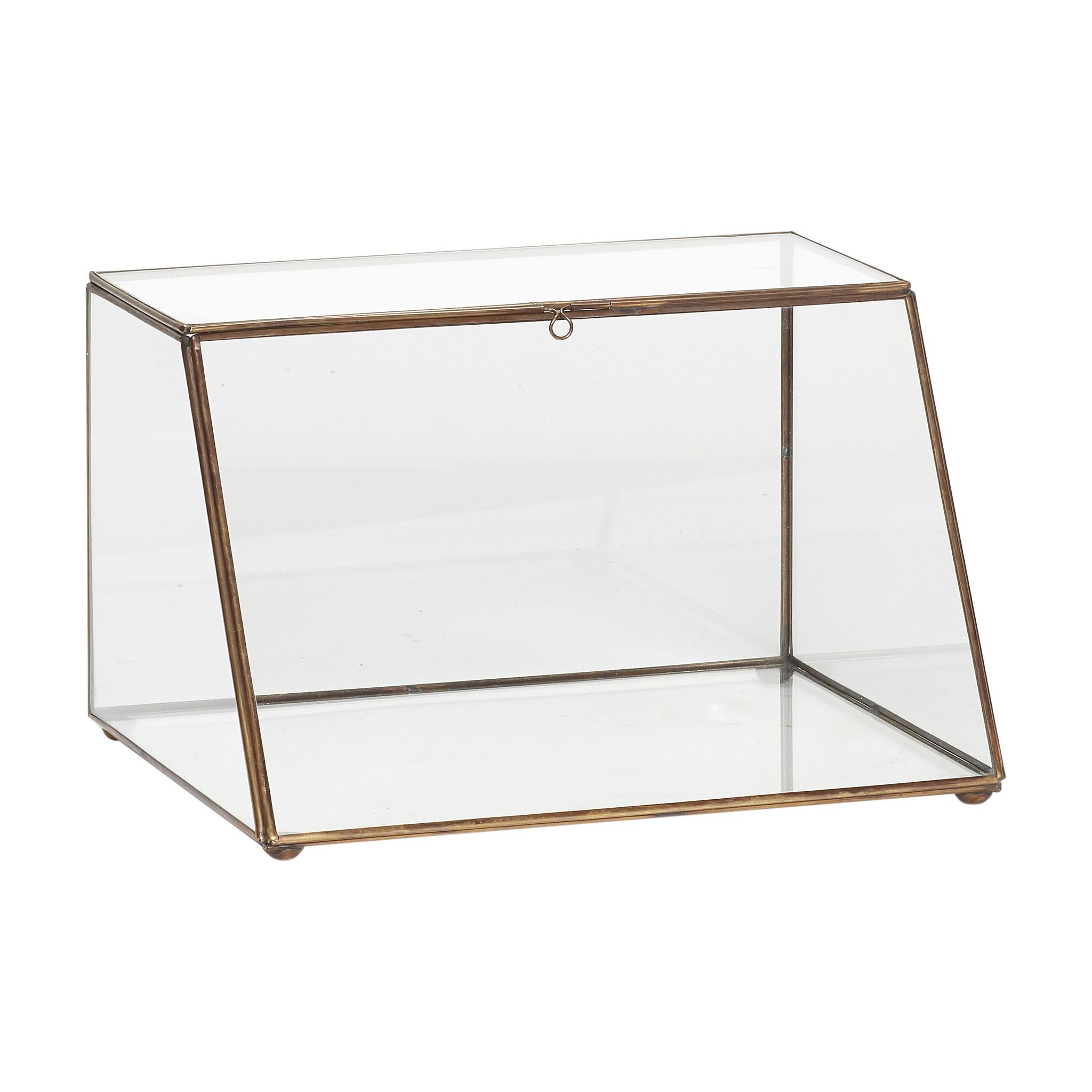 Hubsch Glazen doos, messing / glas