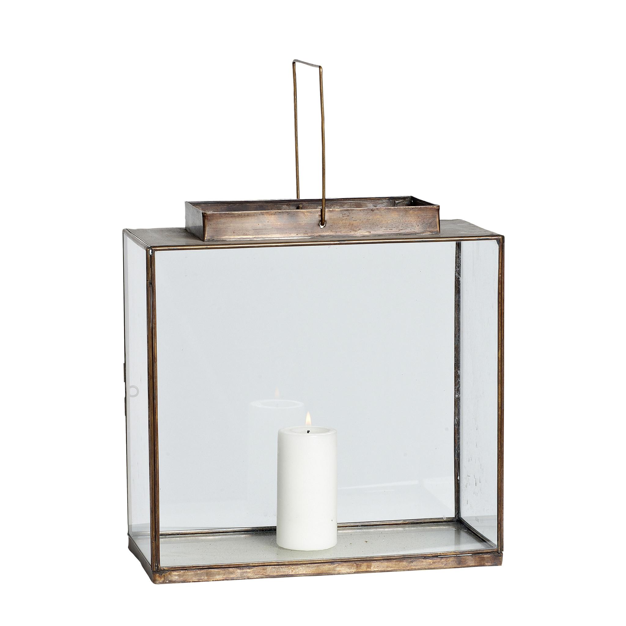 Hubsch Lantaarn, vierkant, messing / glas, klein