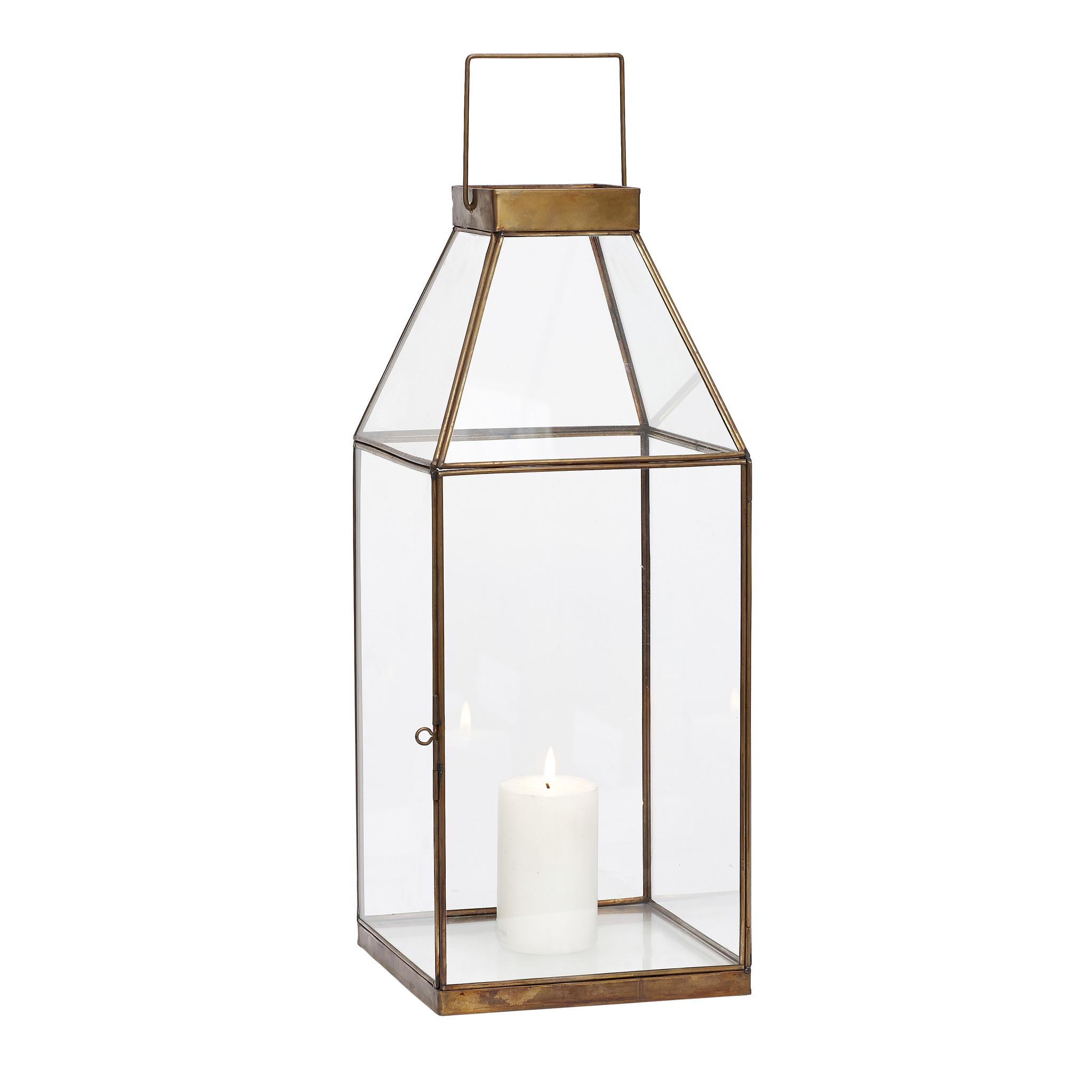 Hubsch Lantaarn, vierkant, messing / glas, groot