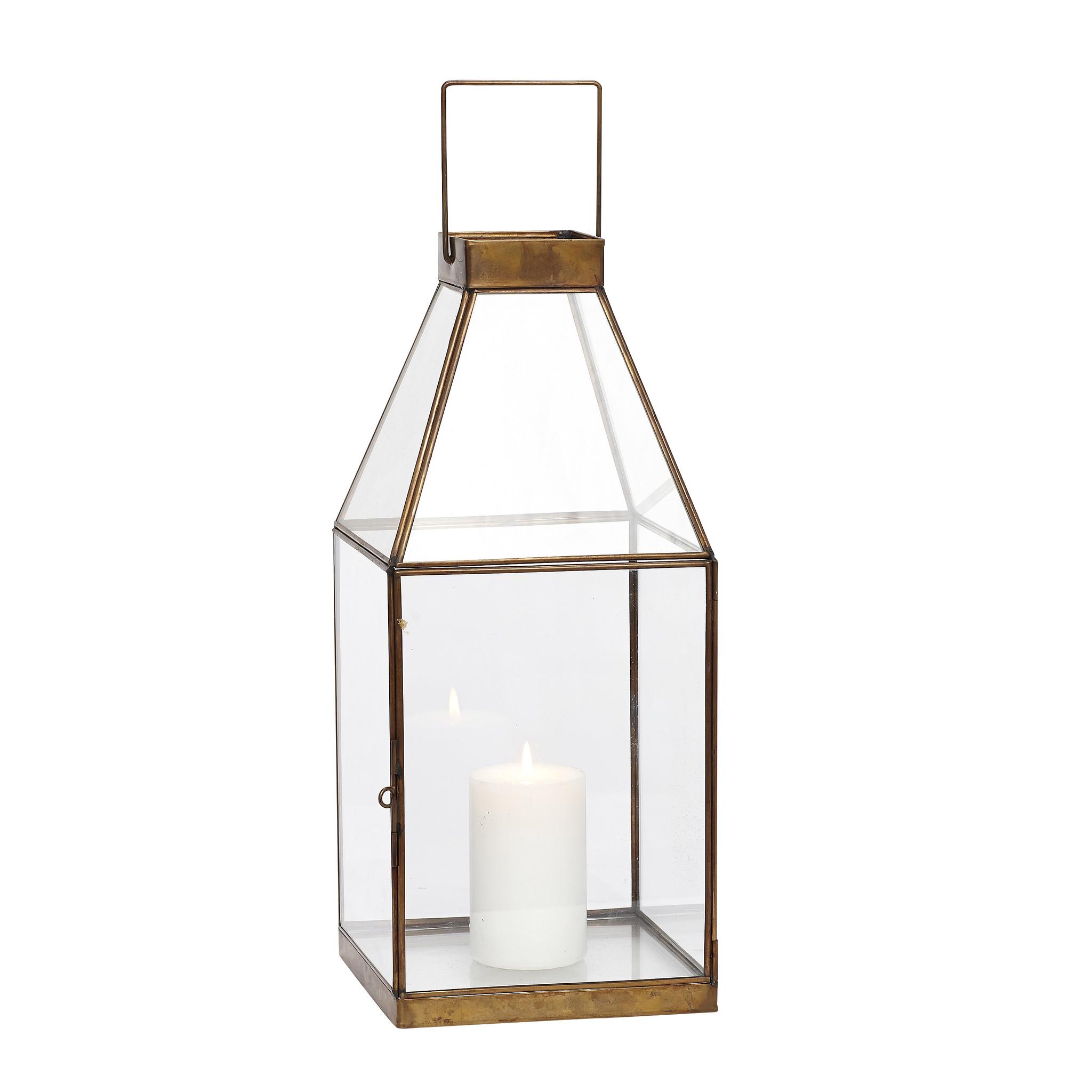 Hubsch Lantaarn, vierkant, messing / glas, klein-317004-5712772031537