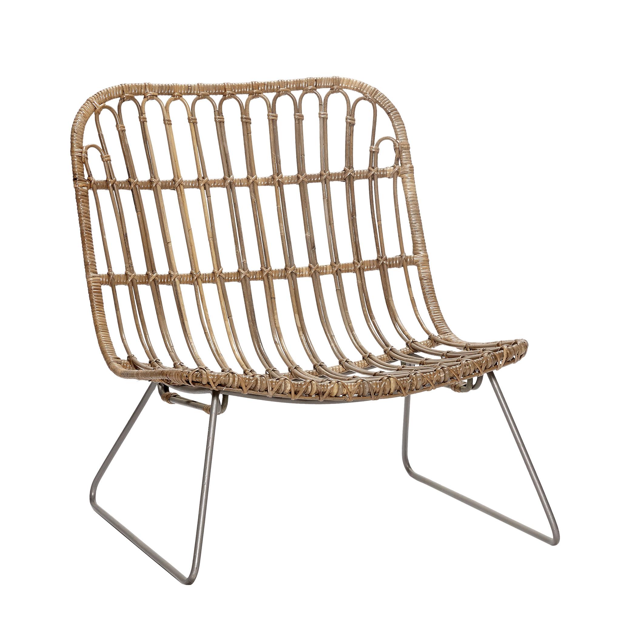 Hubsch Lounge stoel met metalen poten, rotan, natuur-319024-5712772034392