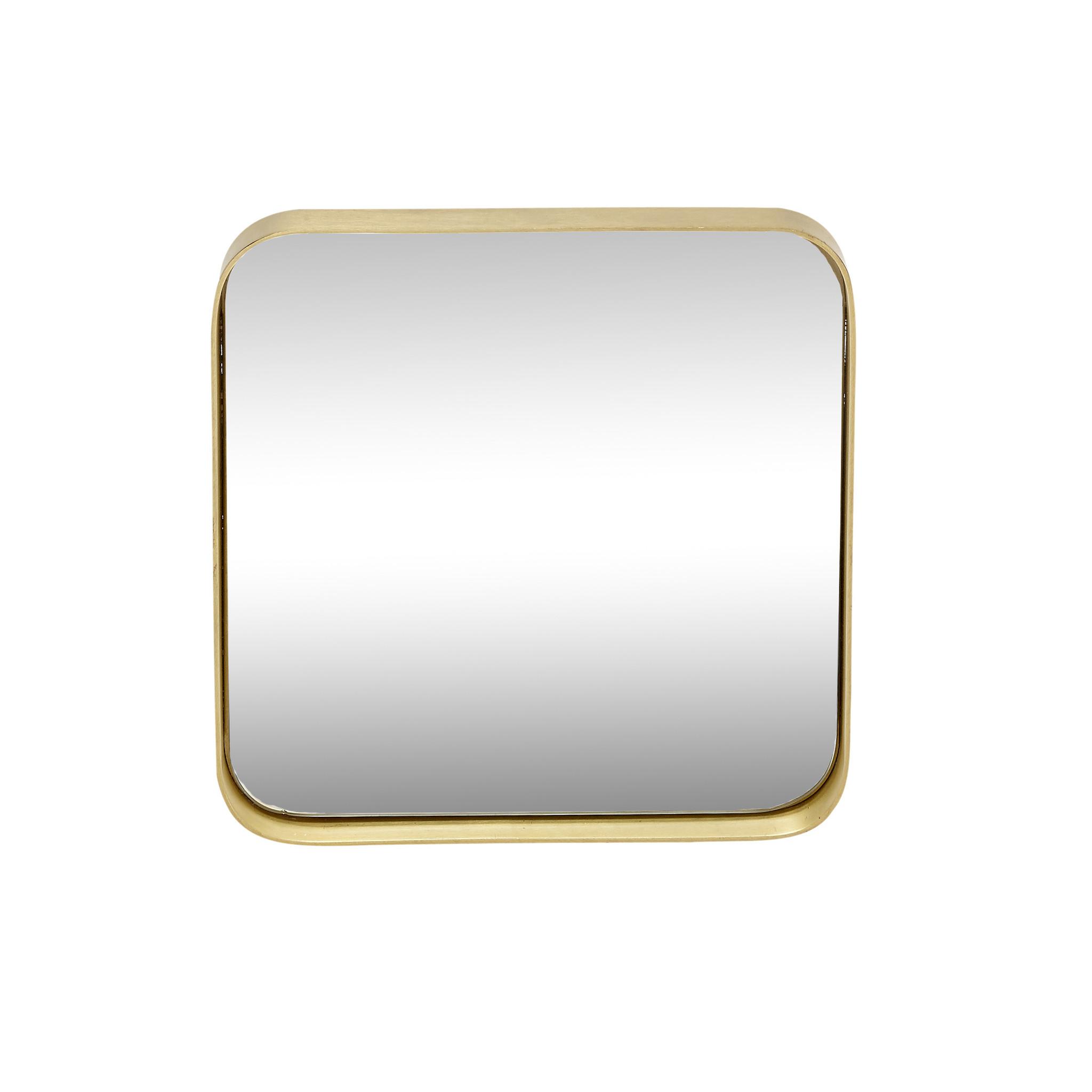 Hubsch Wandspiegel met messing frame, vierkant, klein-340107-5712772041062