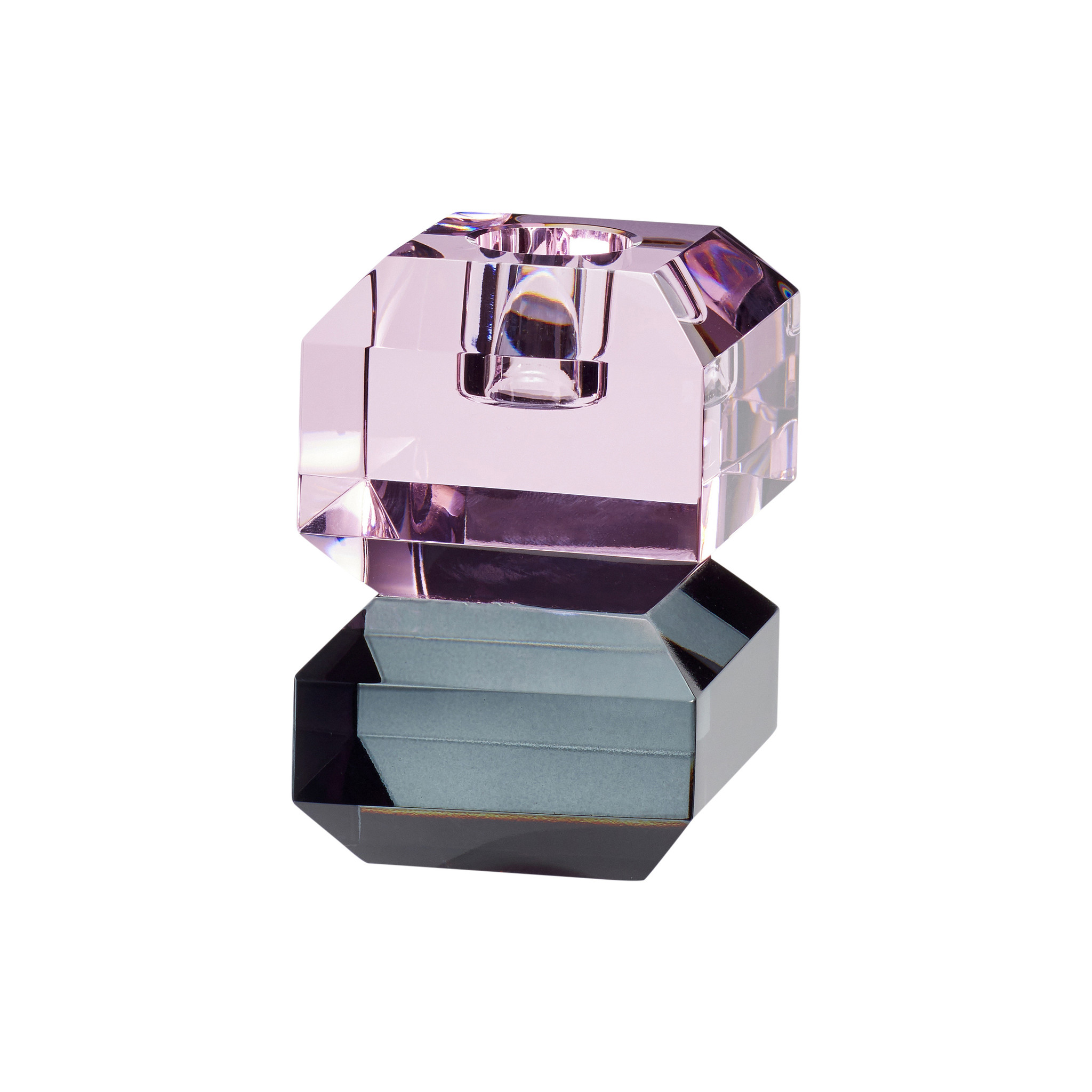 Hubsch Kandelaar, glas, roze / gerookt-340701-5712772060957