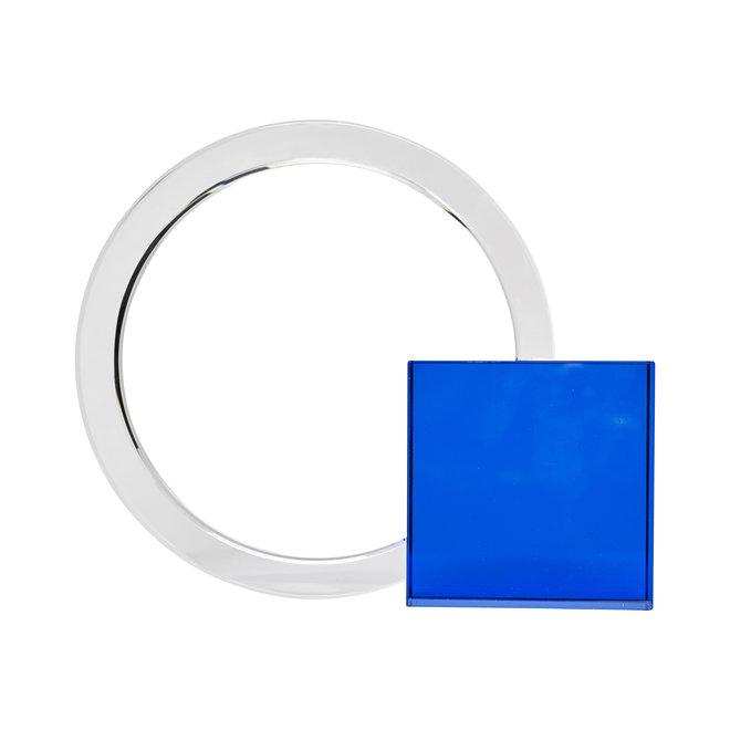 Boekensteun, glas, blauw / helder