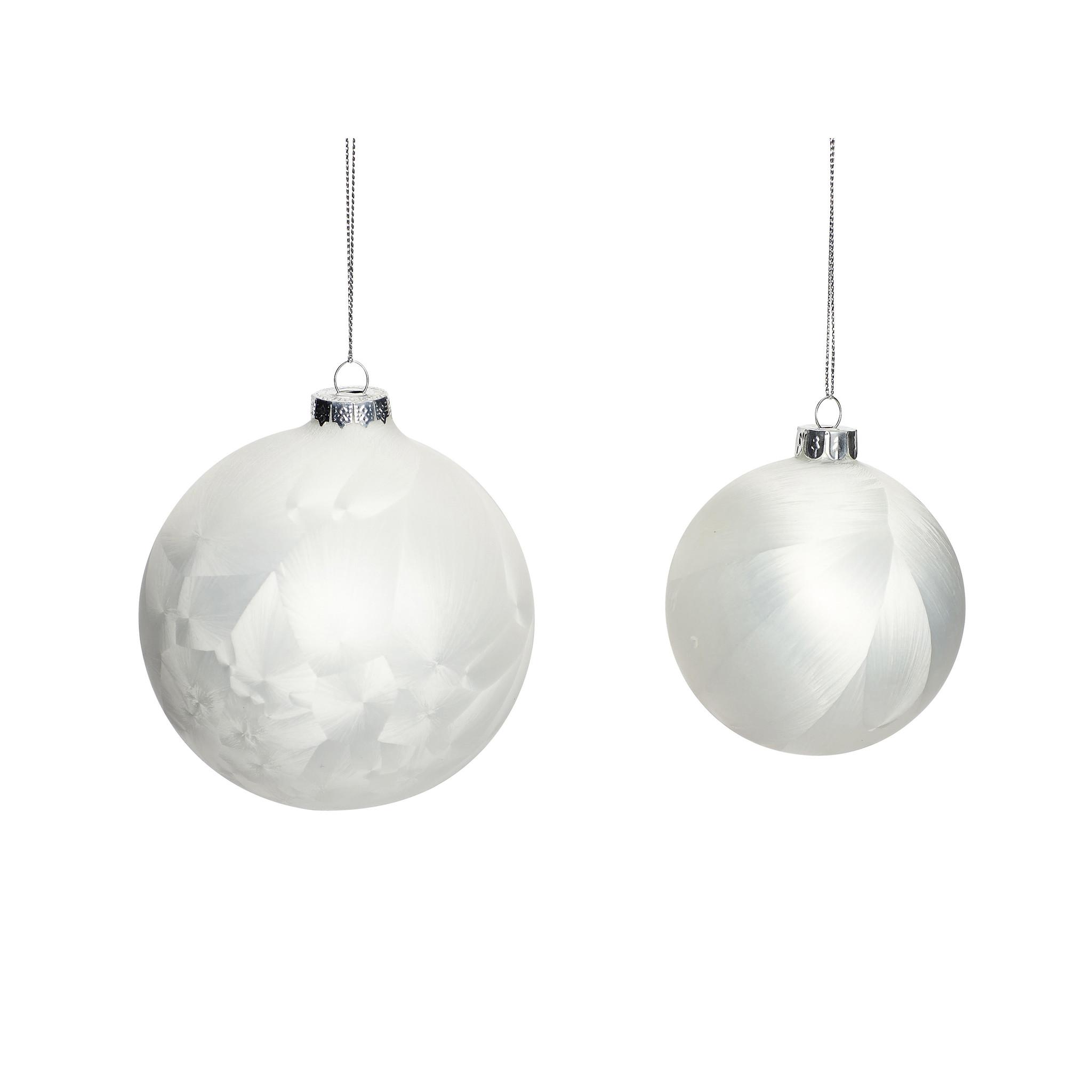 Hubsch Kerstbal, wit, set van 2-350135-5712772047460