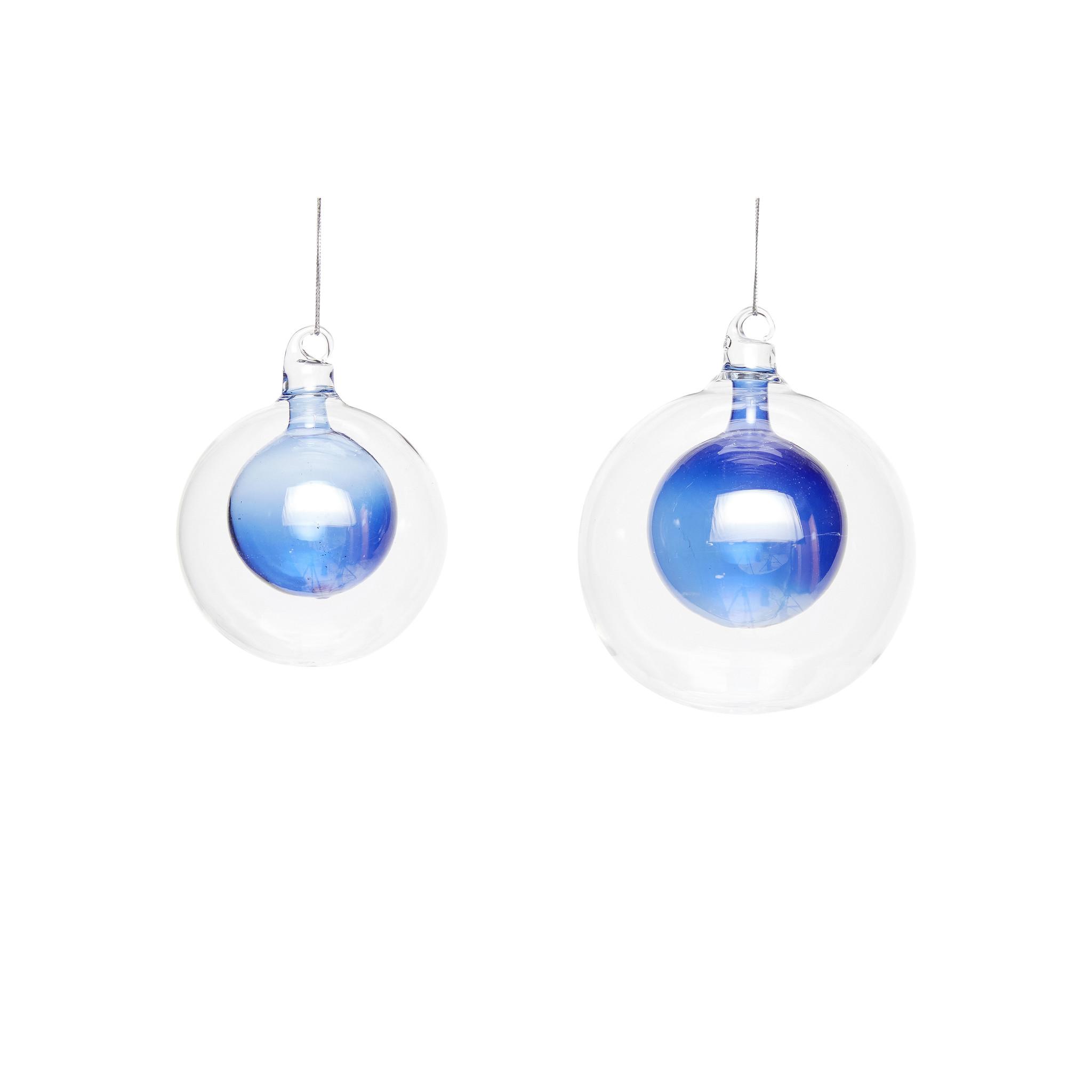 Hubsch Kerstbal, helder / blauw, set van 2