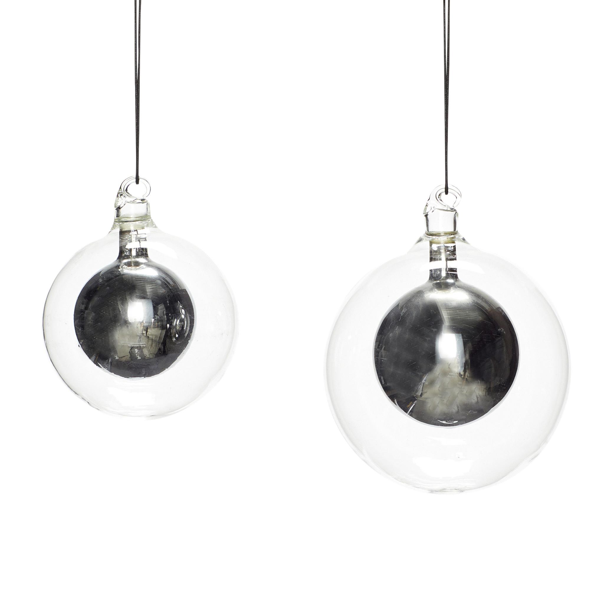Hubsch Kerstbal, helder / zilver, set van 2-350506-5712772061022