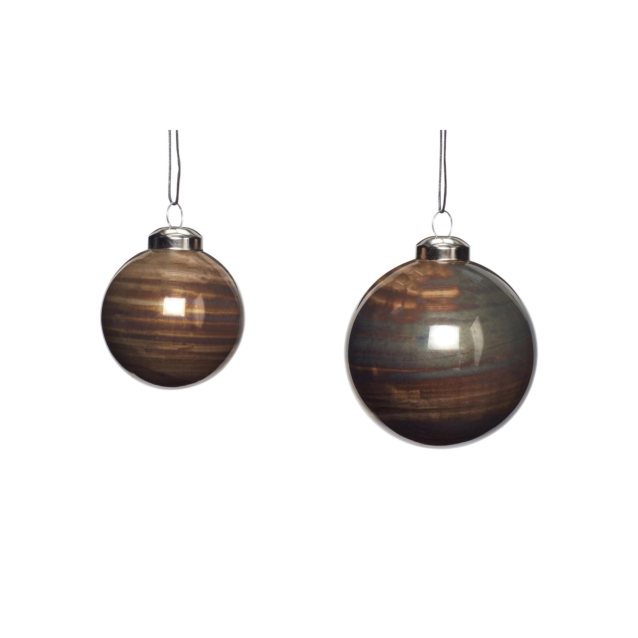 Hubsch Kerstbal, bruin, set van 2-350705-5712772065884