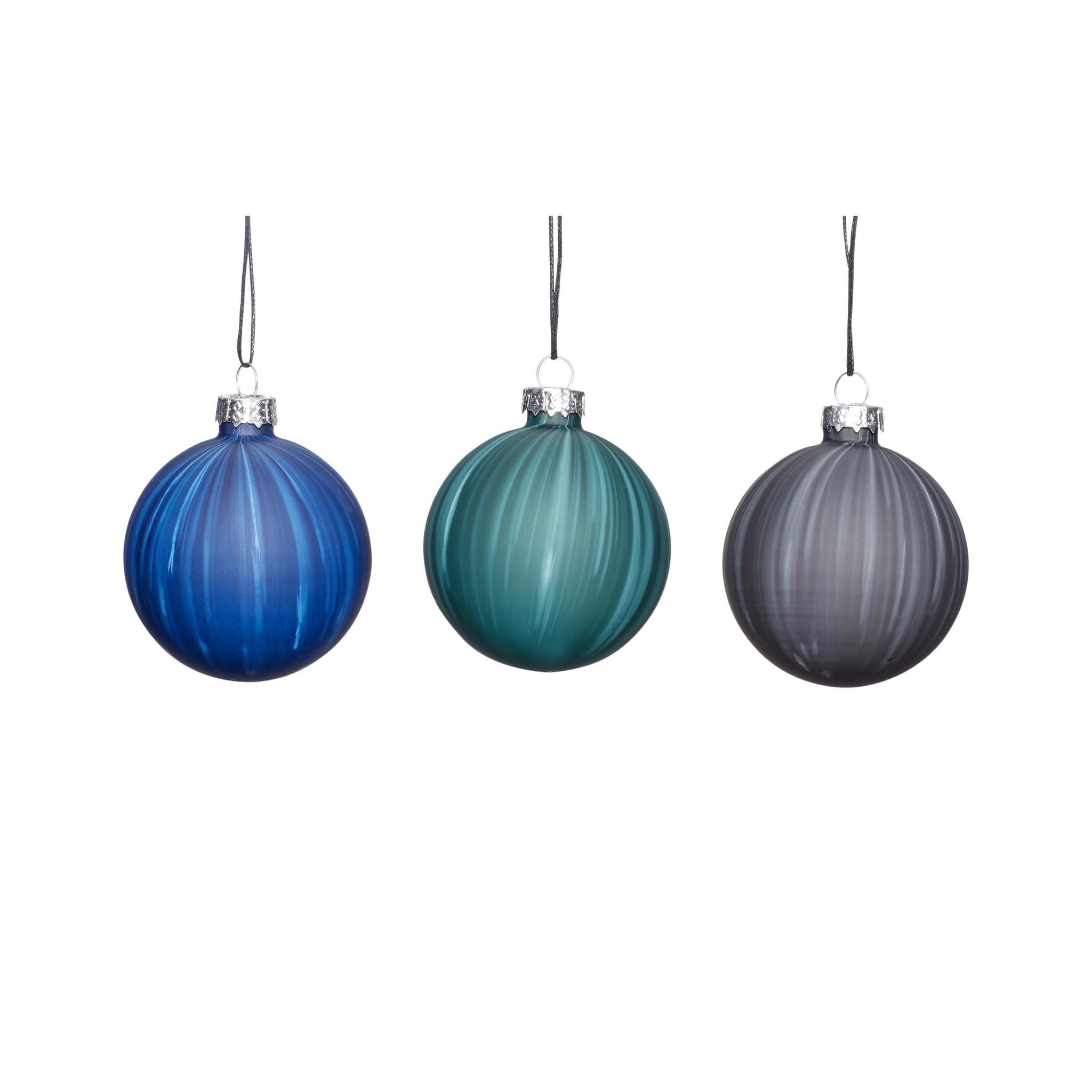 Hubsch Kerstbal, blauw / groen / grijs, set van 3