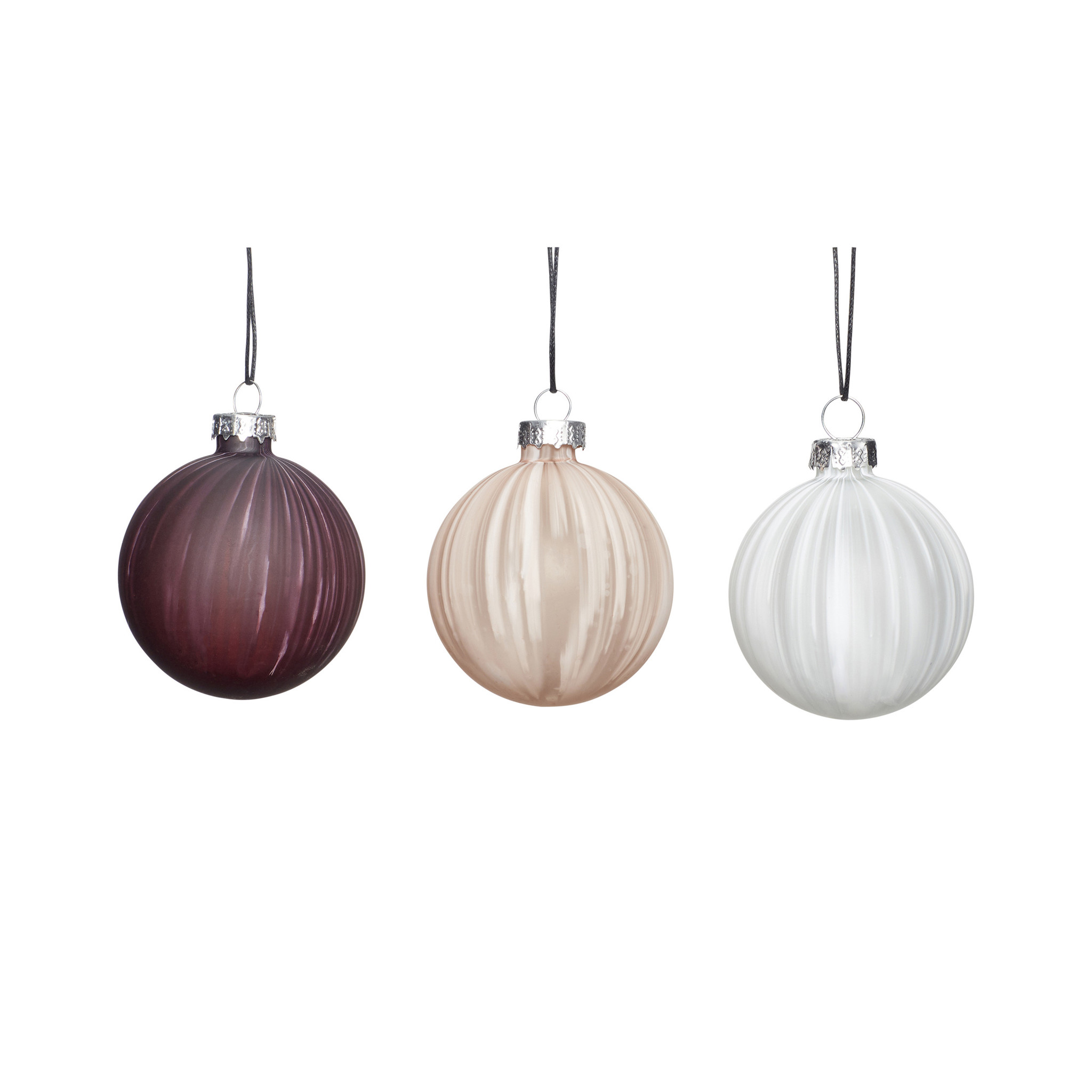 Hubsch Kerstbal, wit / beige / paars, set van 3-350707-5712772065914