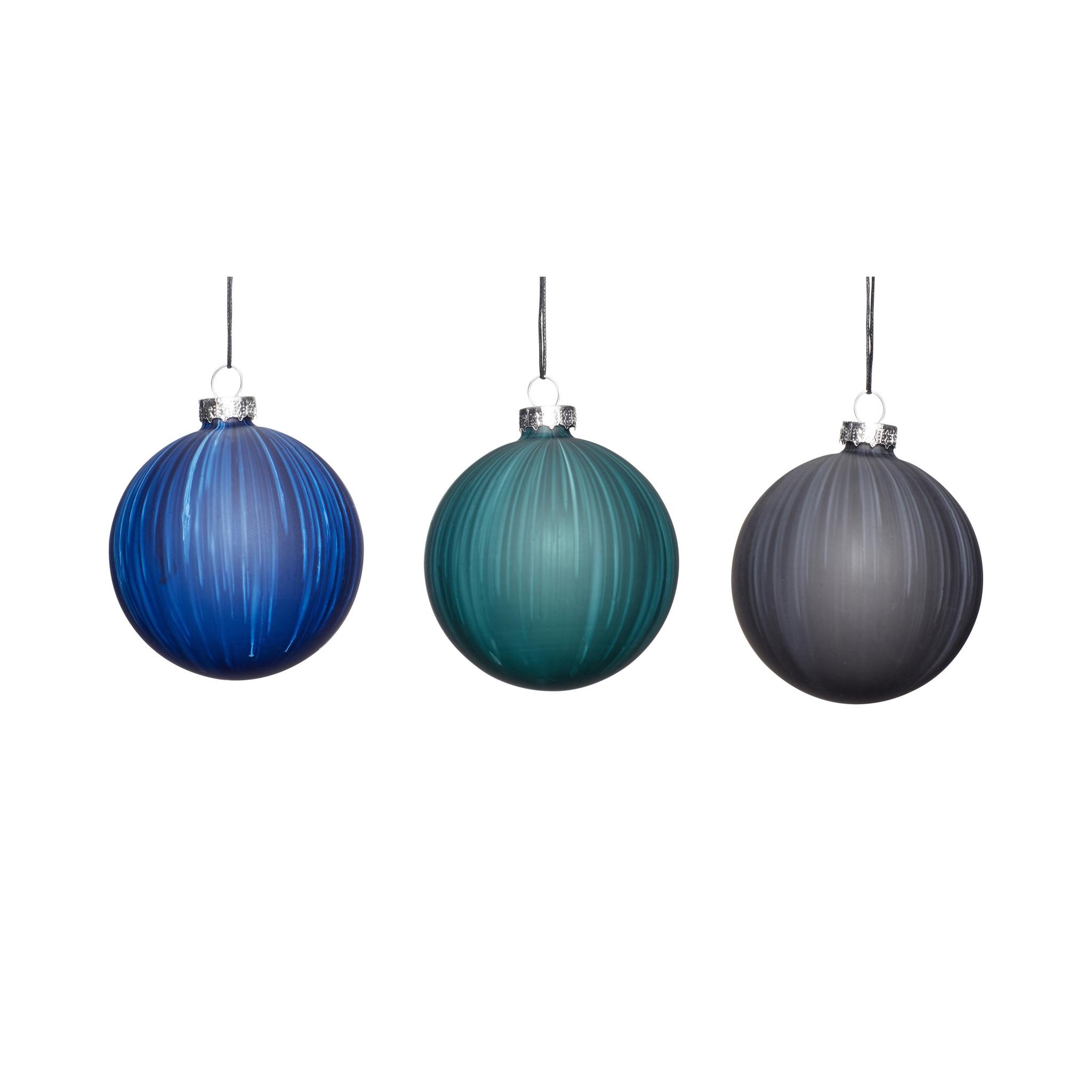 Hubsch Kerstbal, blauw / groen / grijs, set van 3-350708-5712772065907