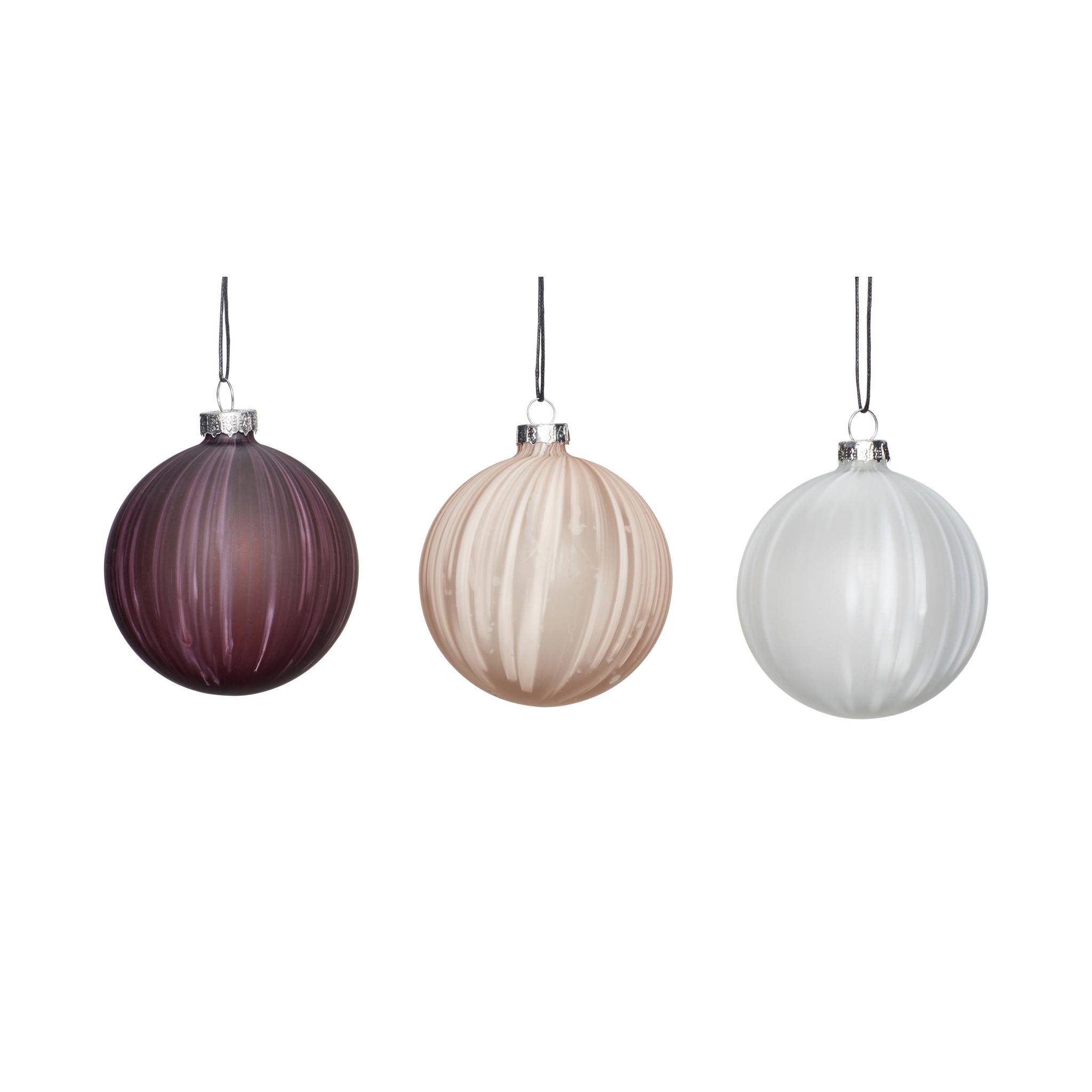 Hubsch Kerstbal, wit / beige / paars, set van 3-350709-5712772065921