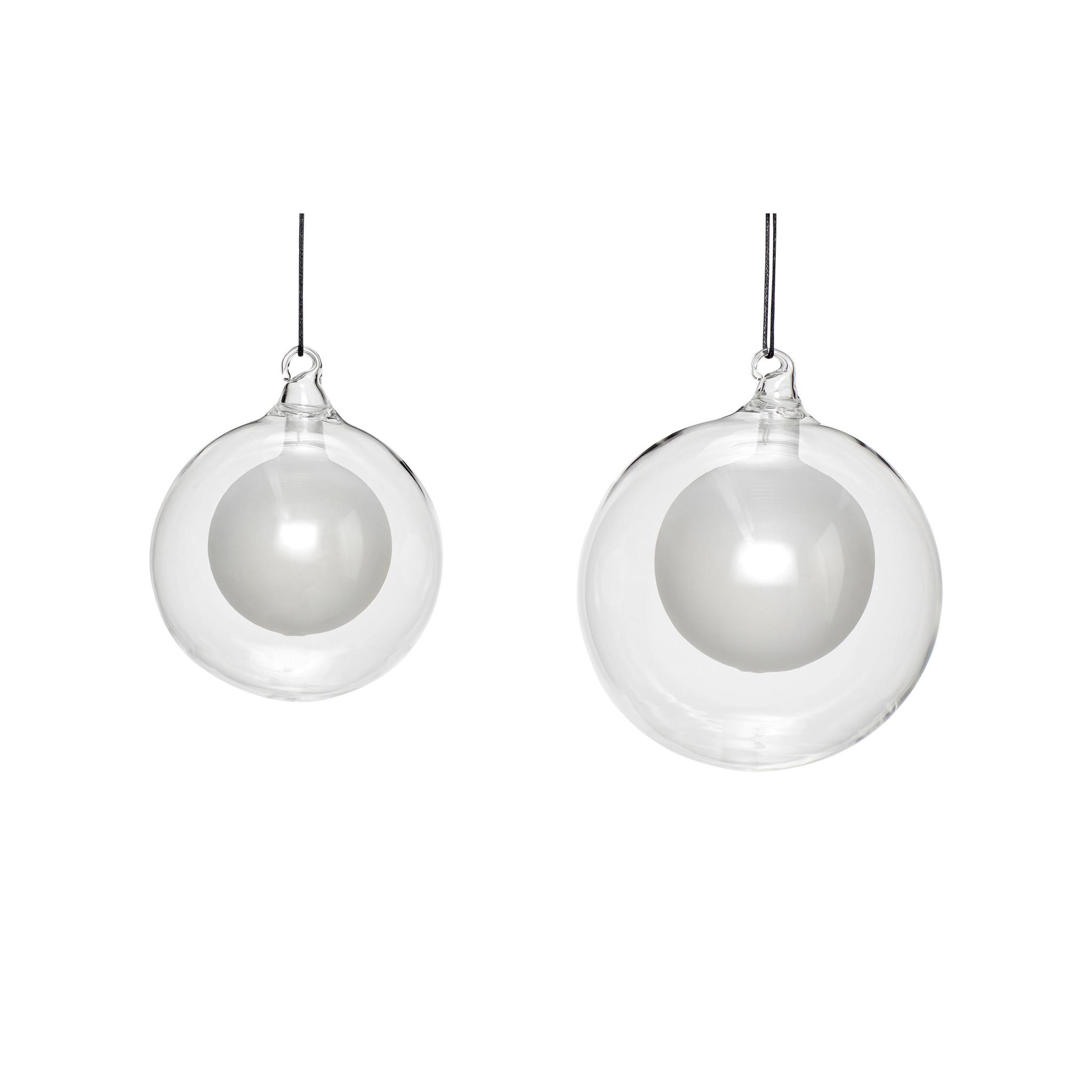 Hubsch Kerstbal, helder / wit, set van 2