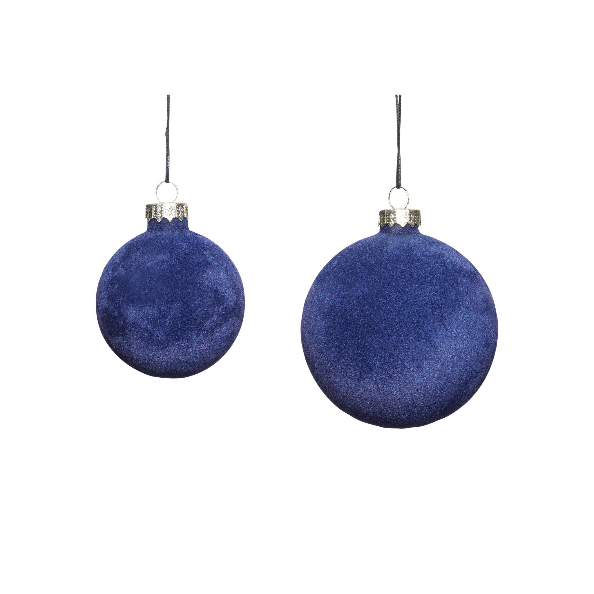 Hubsch Kerstbal, blauw, velours, set van 2-350716-5712772065983
