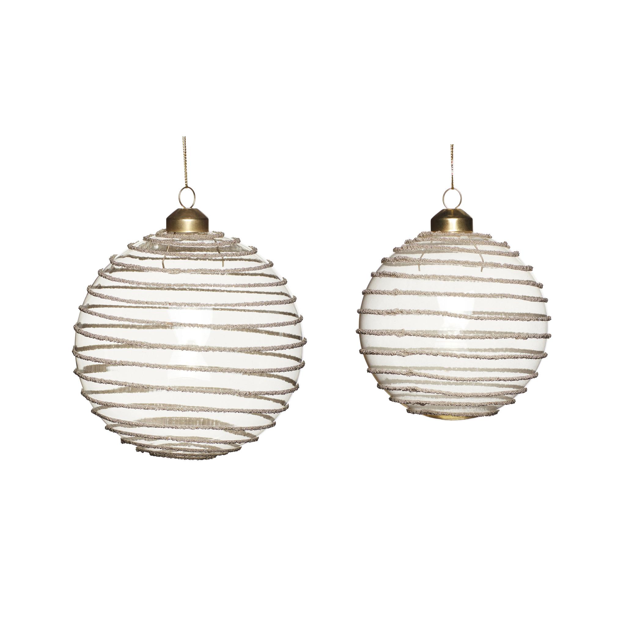 Hubsch Kerstbal, glas, helder / goud, set van 2