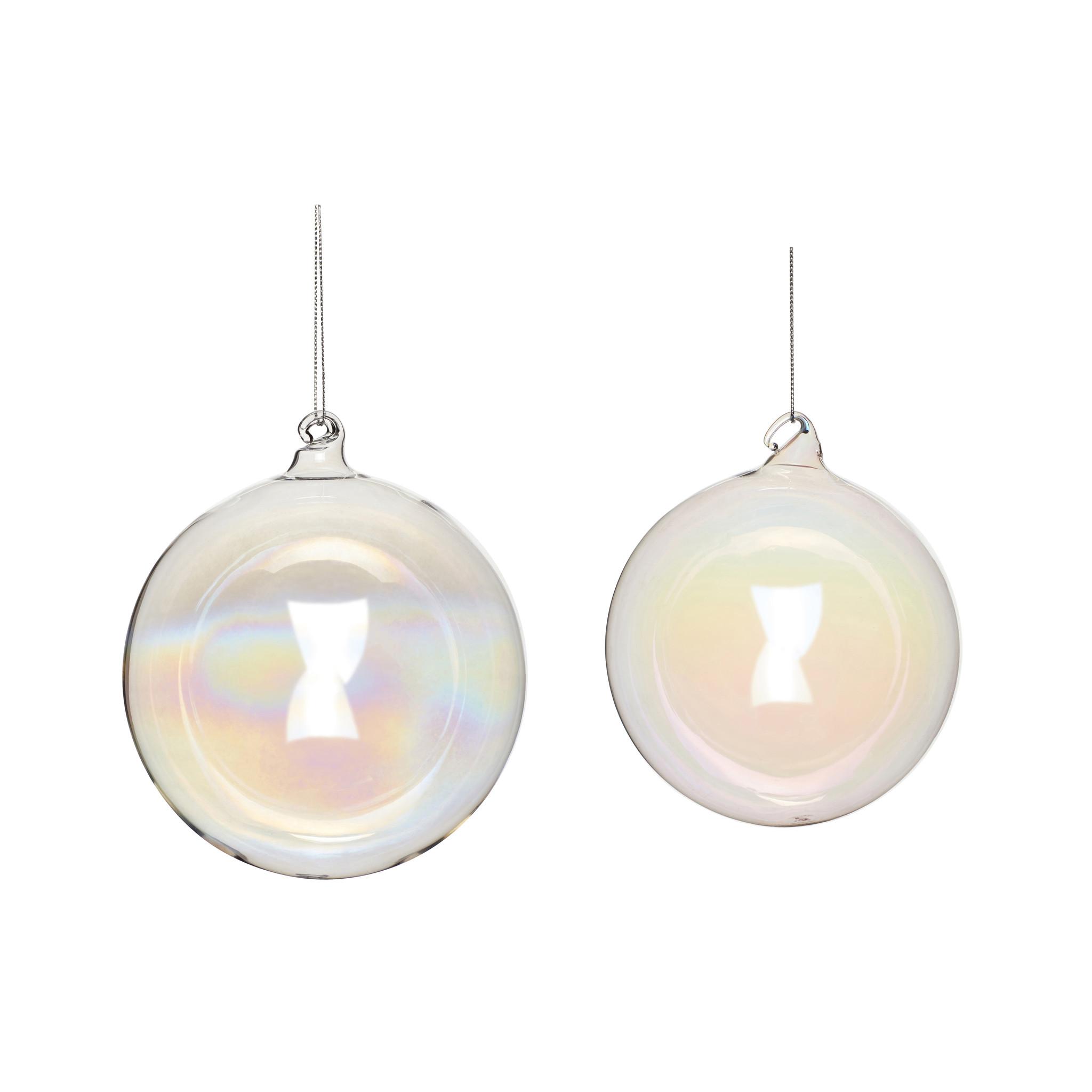 Hubsch Kerstbal, glas, helder, set van 2