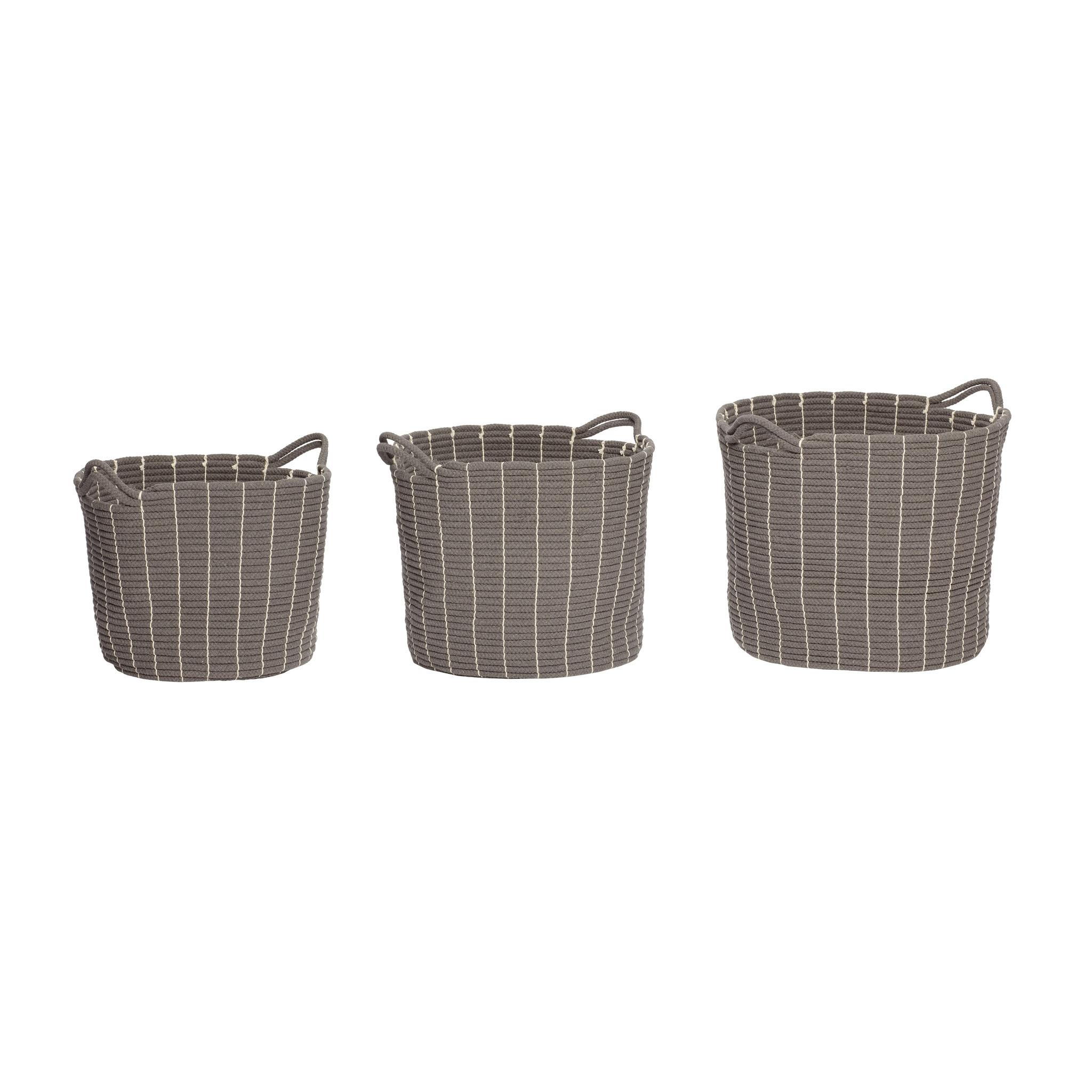 Hubsch Mand met handvat, rond, katoen, grijs, set van 3-360205-5712772051238