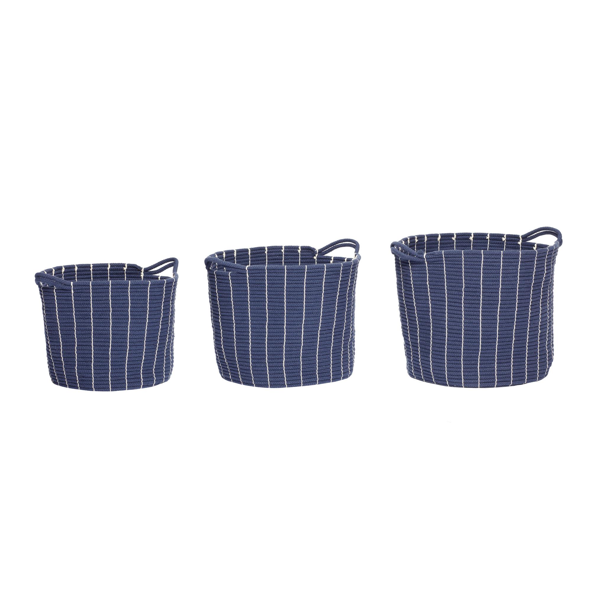 Hubsch Mand met handvat, rond, katoen, blauw, set van 3
