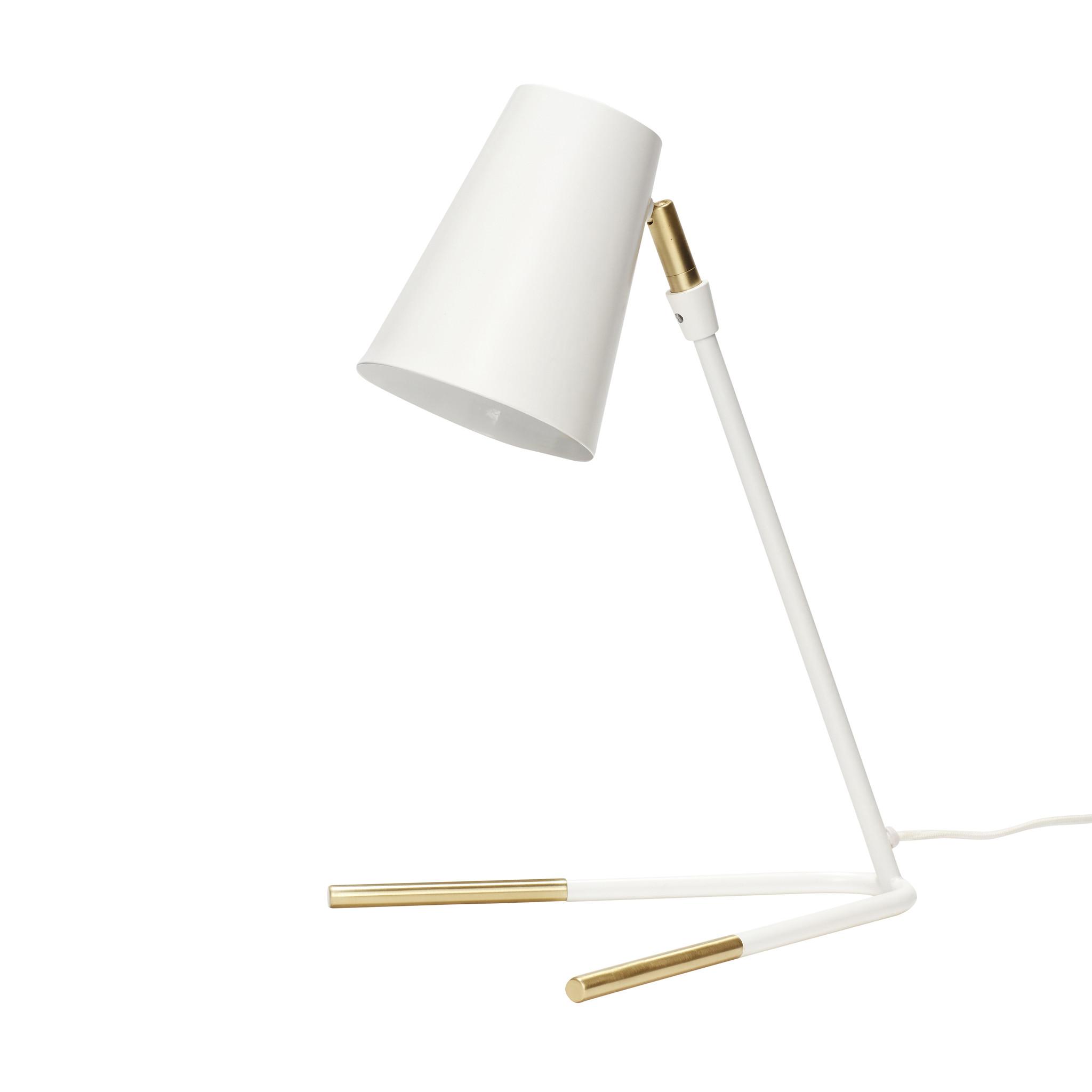 Hubsch Tafellamp, metaal, wit / messing-370409-5712772058688