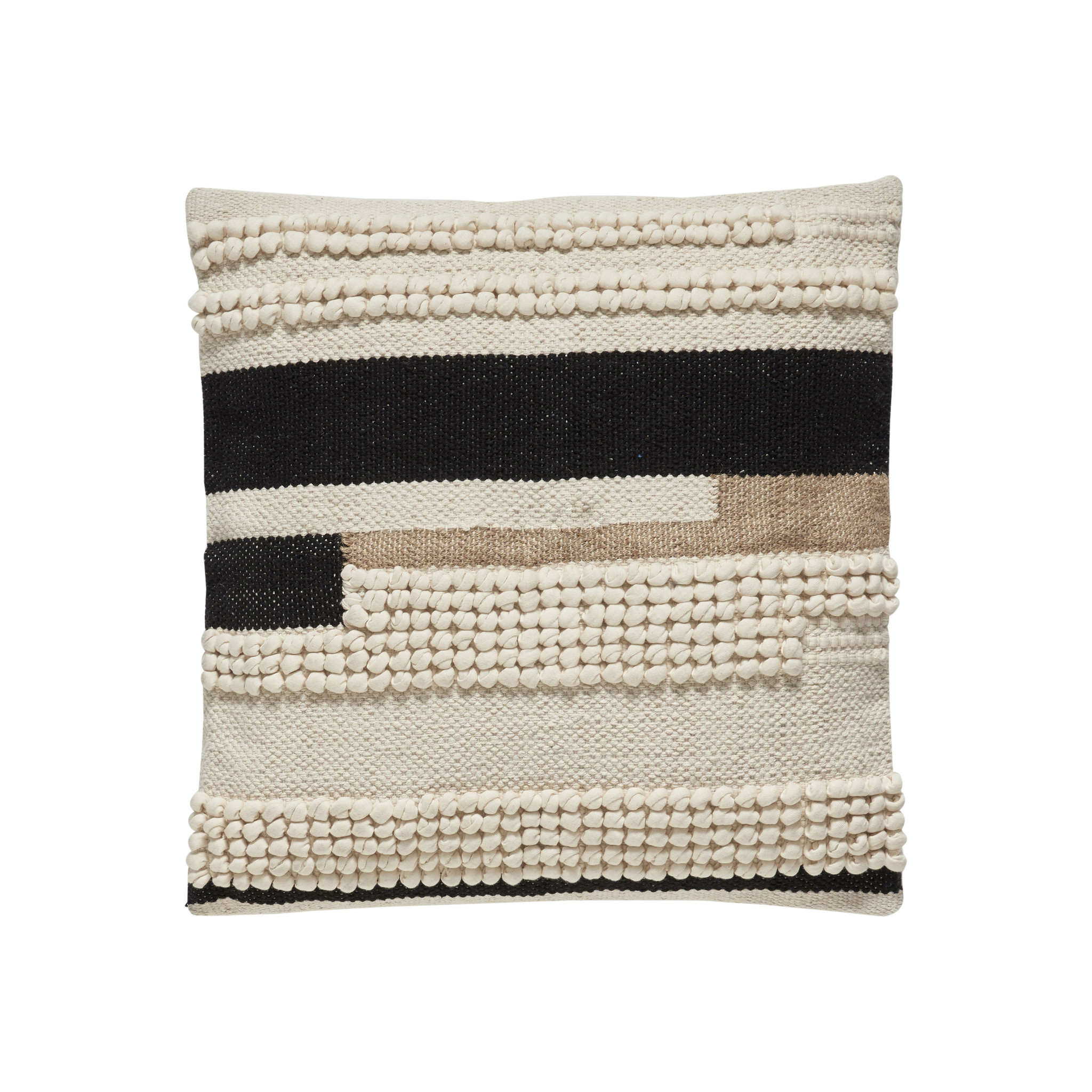 Hubsch Kussen met patroon, katoen, wit / zwart / bruin-370701-5712772065792