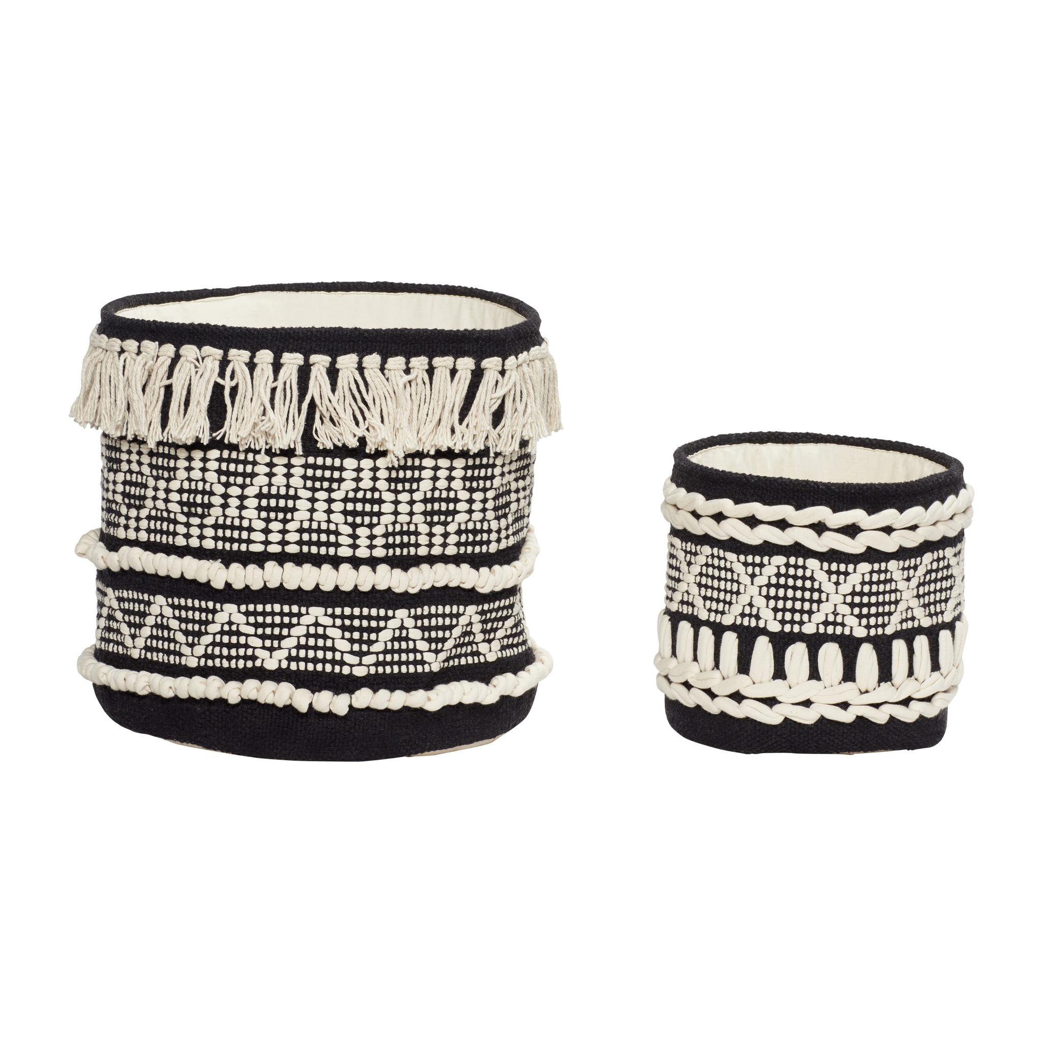 Hubsch Mand, rond, katoen, zwart / wit, set van 2-370703-5712772065815
