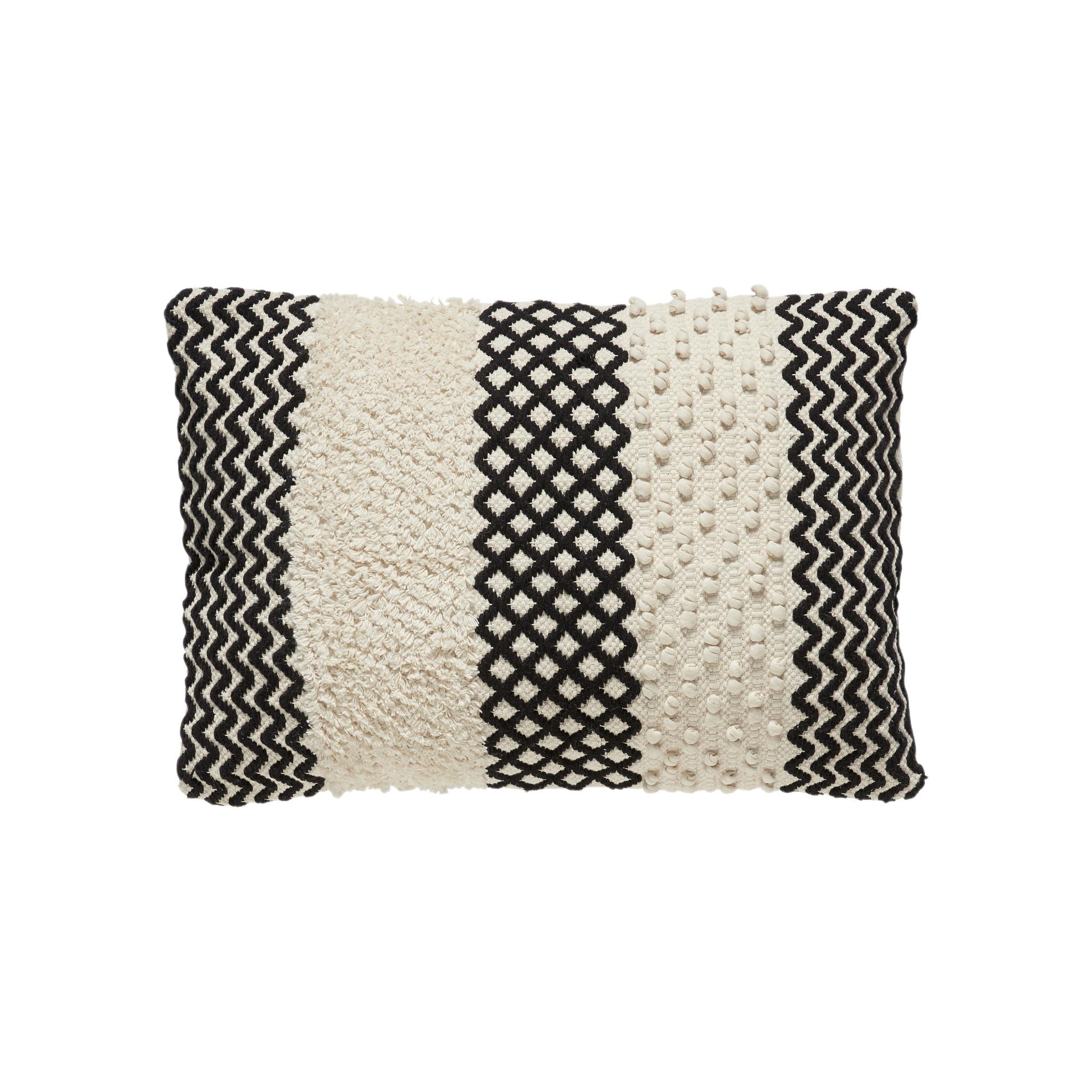 Hubsch Kussen met patroon / opvulling, katoen, wit / zwart