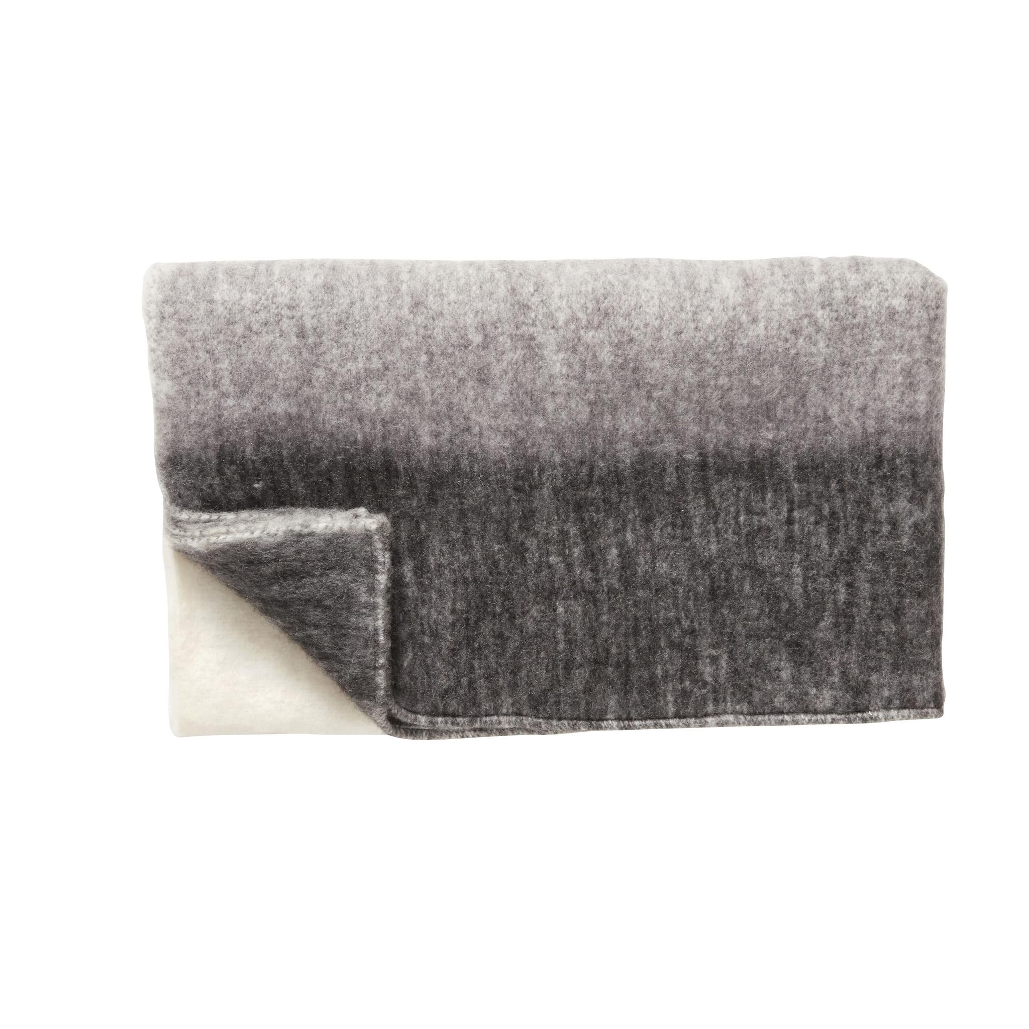 Hubsch Plaid, acryl, zwart / grijset van natuur