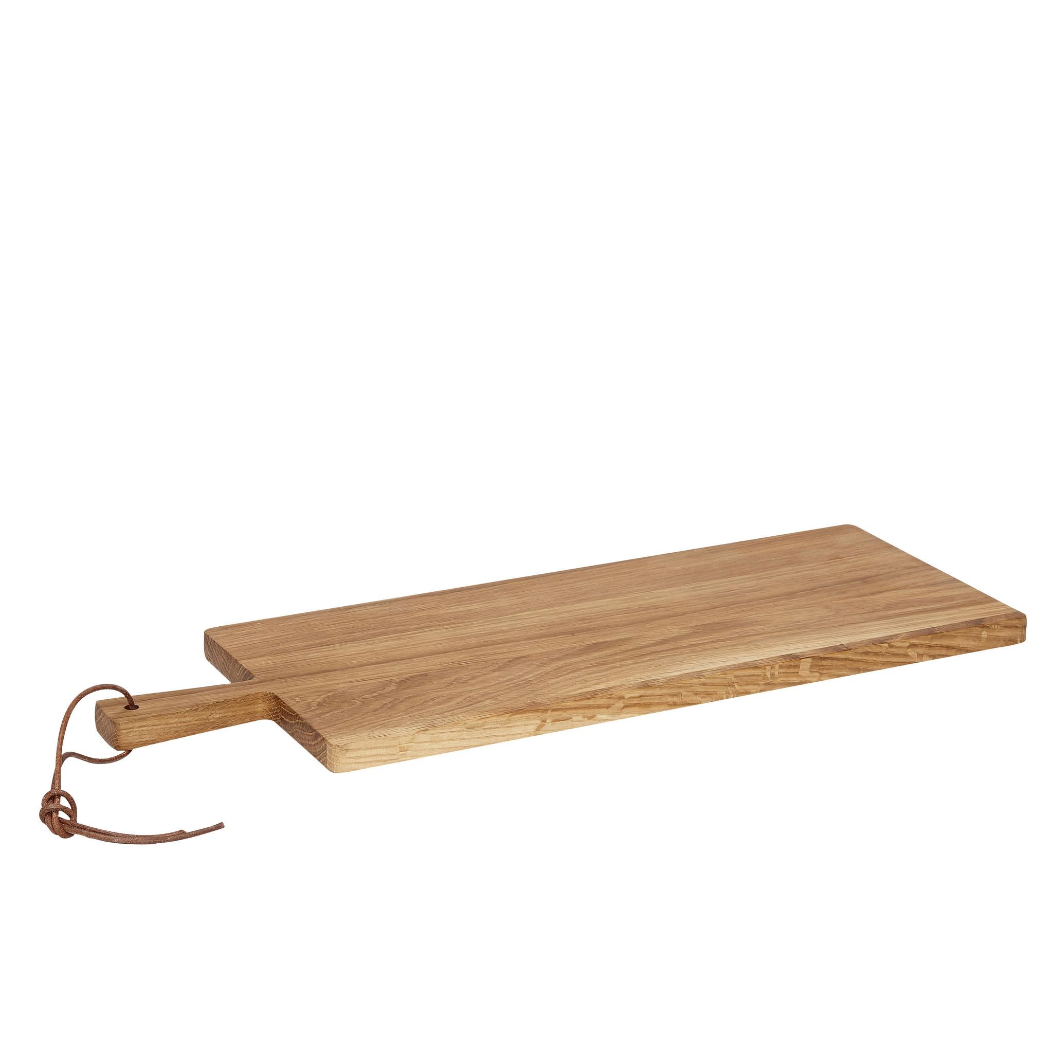 Hubsch Snijplank met handvat en lederen koord, vierkant, eik