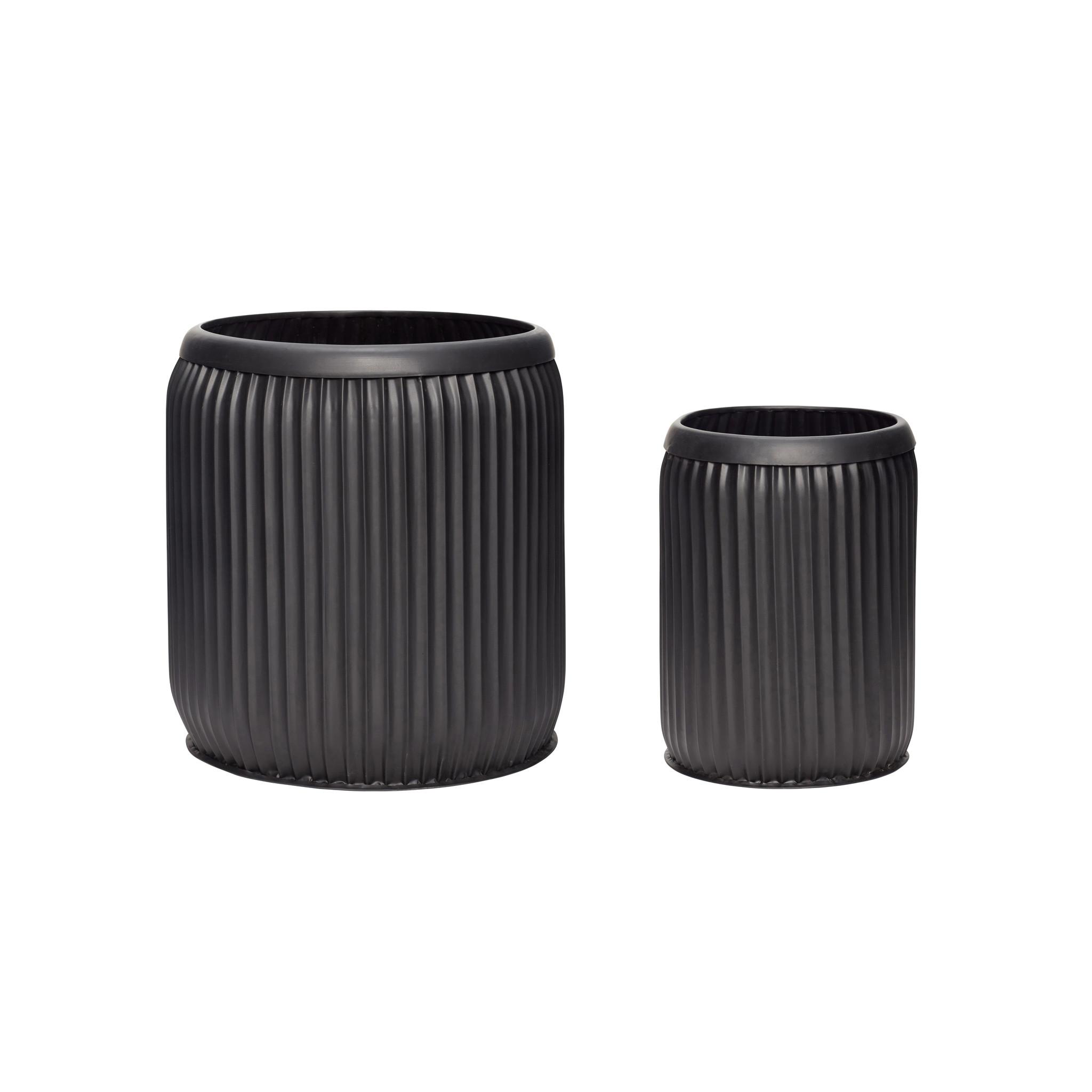 Hubsch Pot, metaal, zwart, set van 2-390801-5712772067604