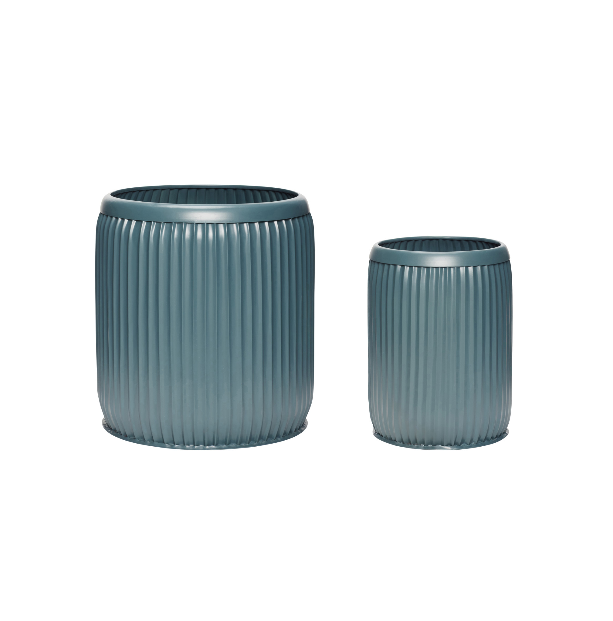 Hubsch Pot, metaal, donkergroen, set van 2-390802-5712772067697