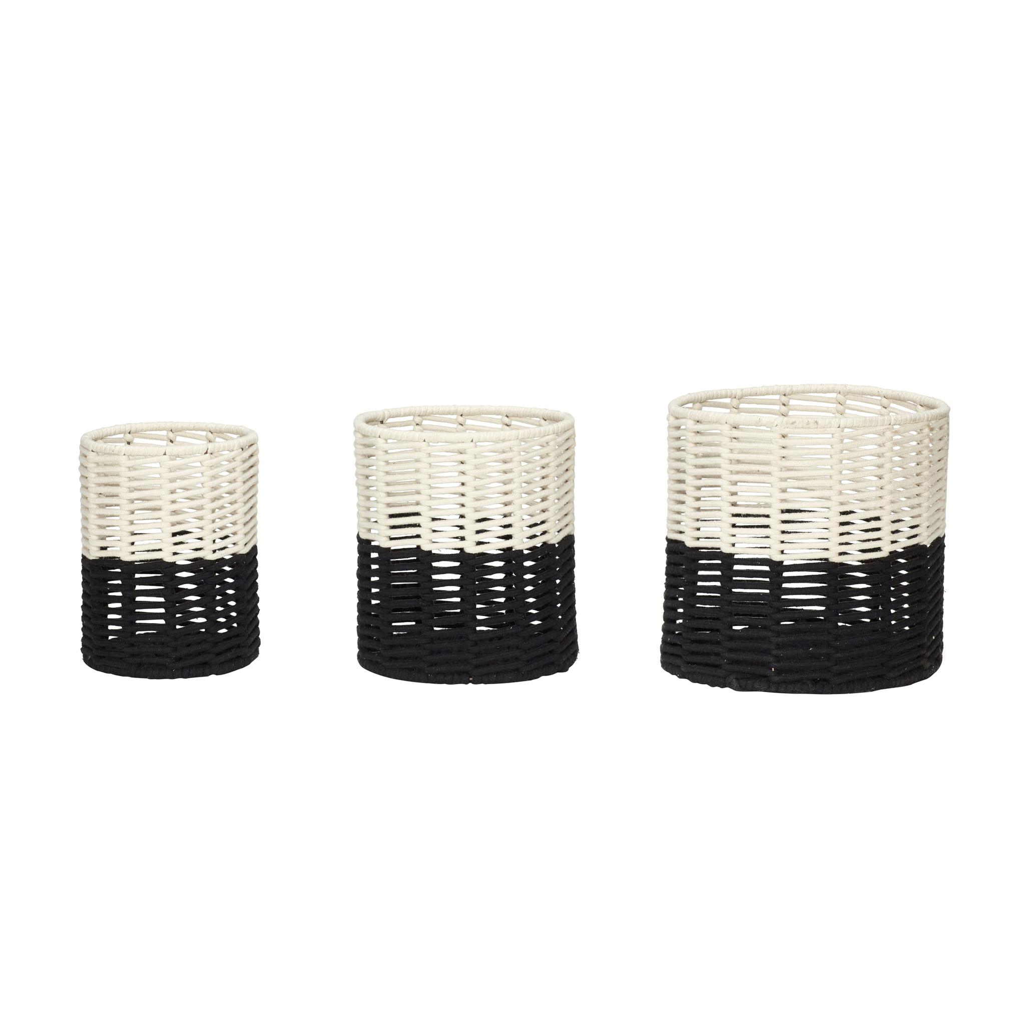 Hubsch Mand, rond, katoen, zwart / wit, set van 3-410501-5712772062517