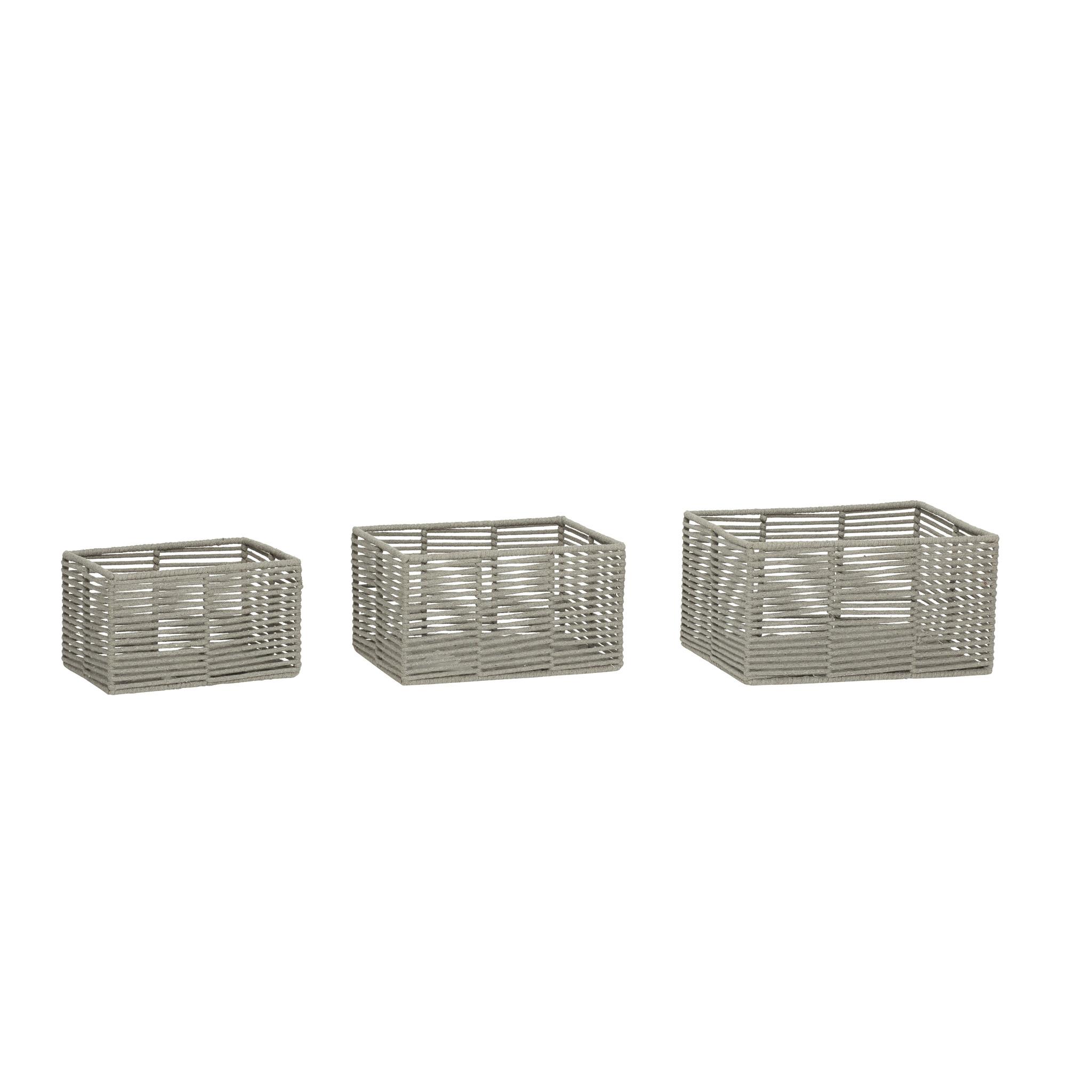 Hubsch Mand, vierkant, katoen, grijs, set van 3-410505-5712772062555