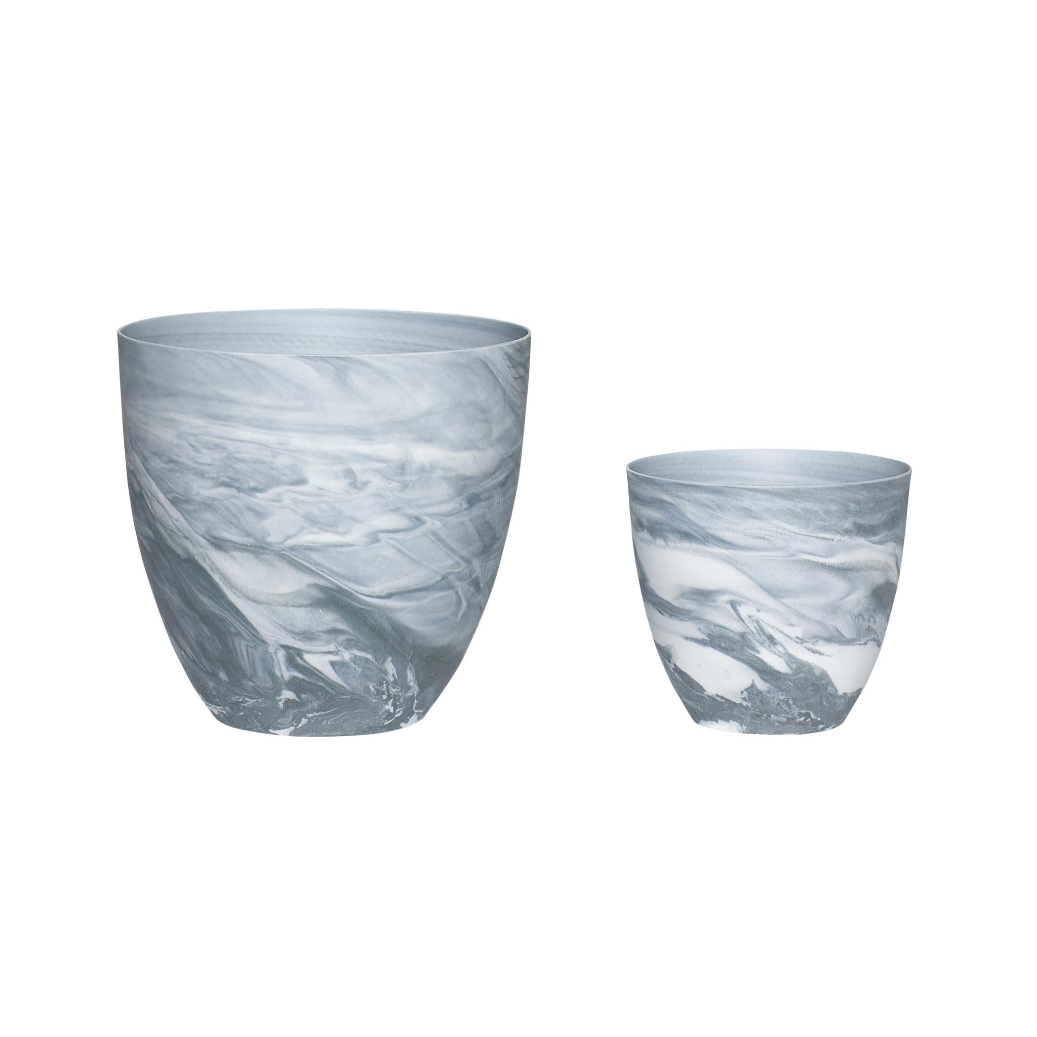 Hubsch Theelichtglas, porselein, donkergrijset van wit, set van 2