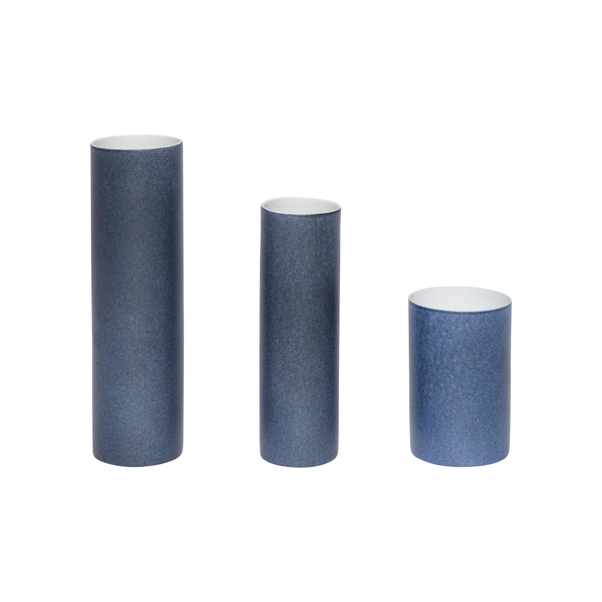 Hubsch Vaas, porselein, blauw, set van 3-420301-5712772054697