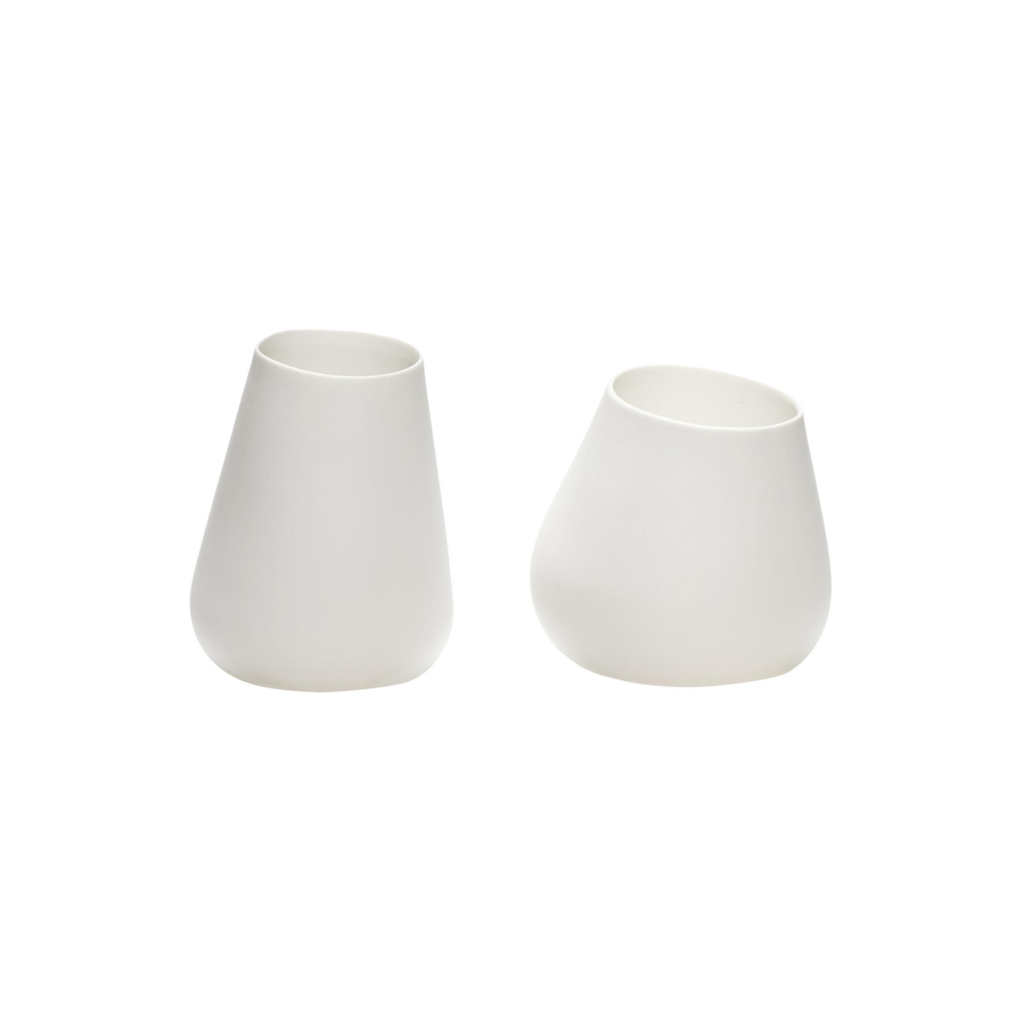 Hubsch Theelichthouder, porselein, wit, set van 2-420409-5712772058152