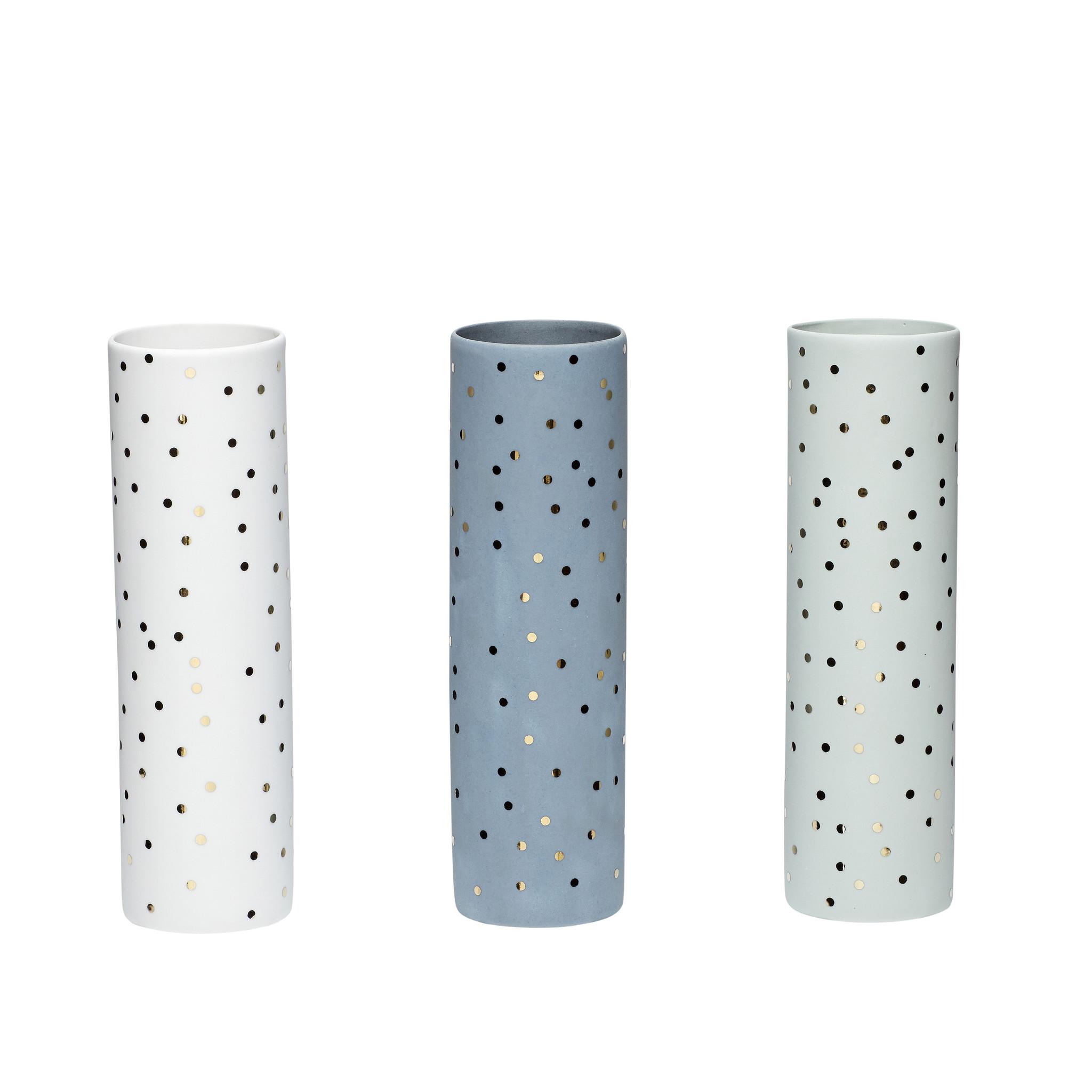Hubsch Vaas met stippen, porselein, wit / blauw / groen, set van 3