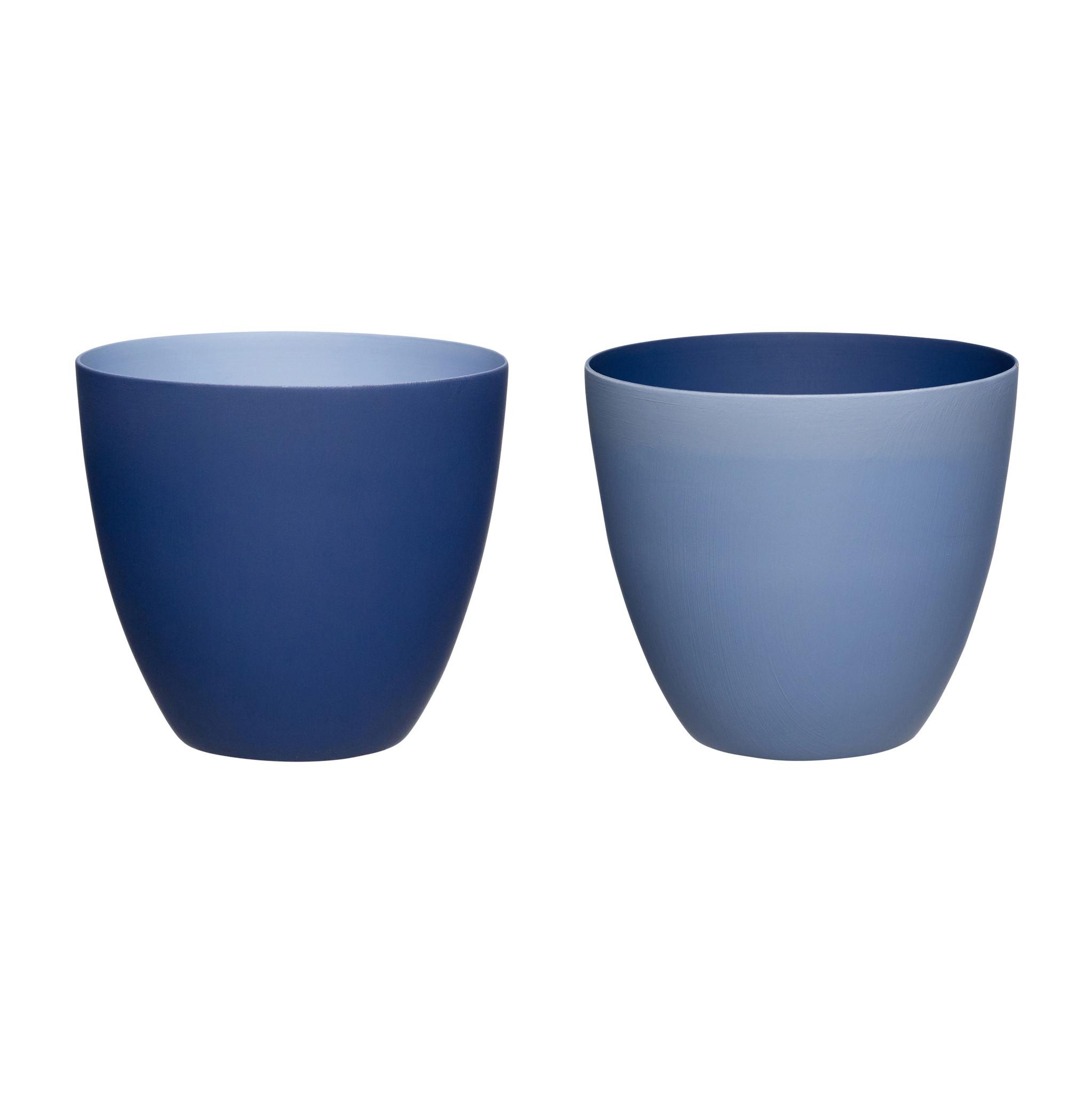 Hubsch Theelichthouder, porselein, blauw, set van 2