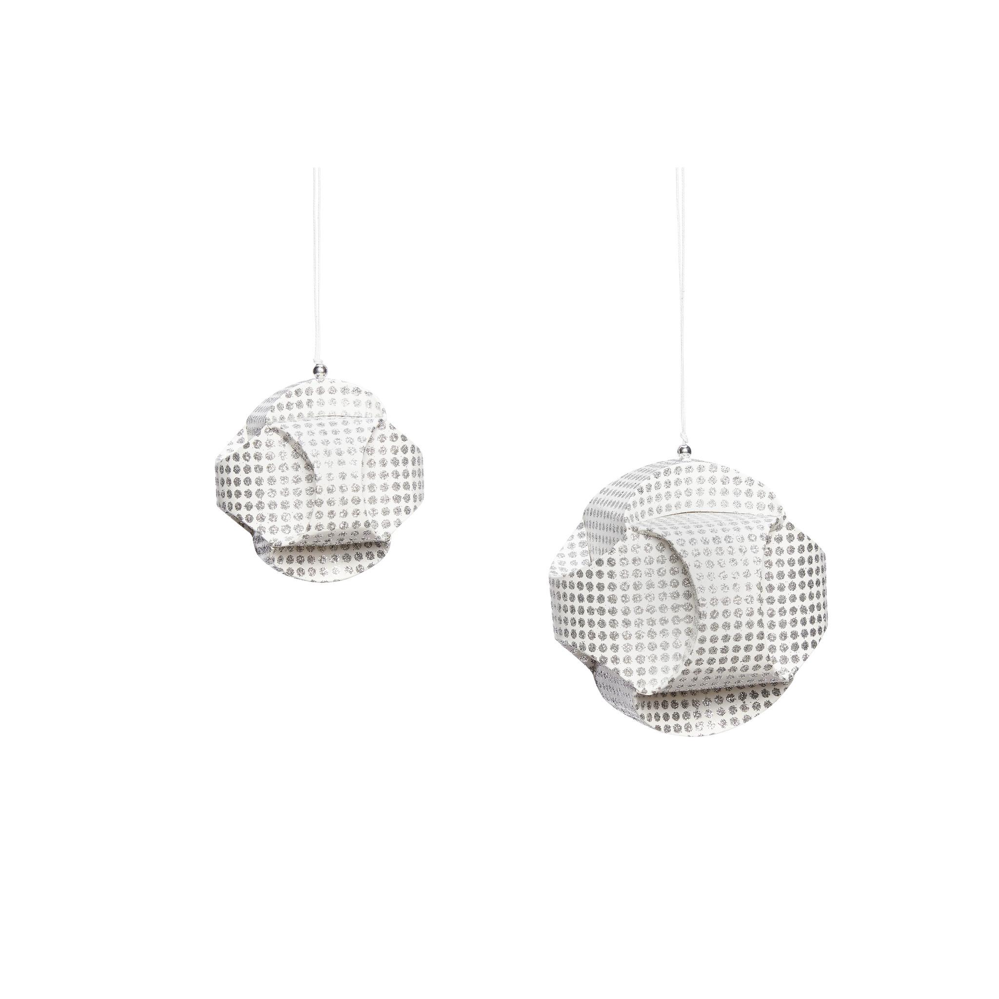Hubsch Kerstbal, handgevouwen, zilver / wit, papier, set van 2