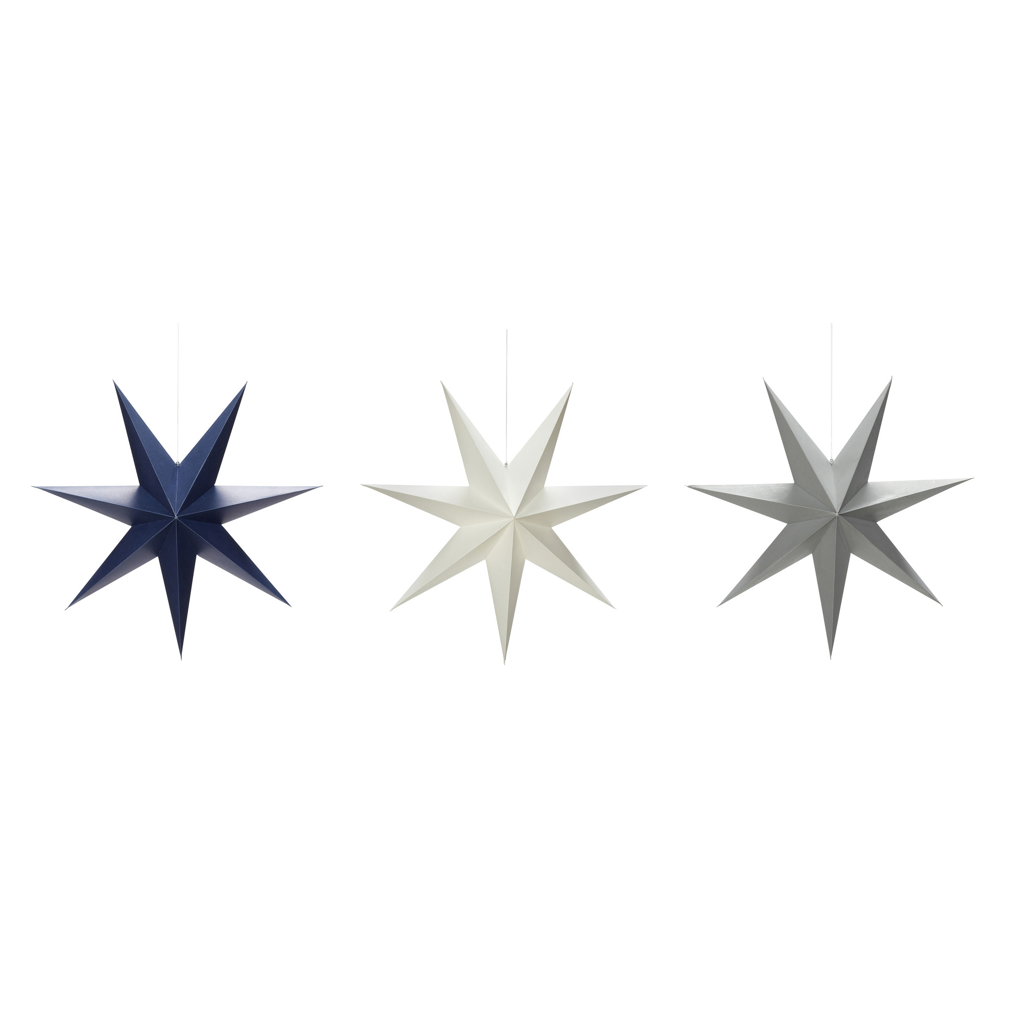 Hubsch Kerstster, handgevouwen, grijset van wit / blauw, papier, set van 3